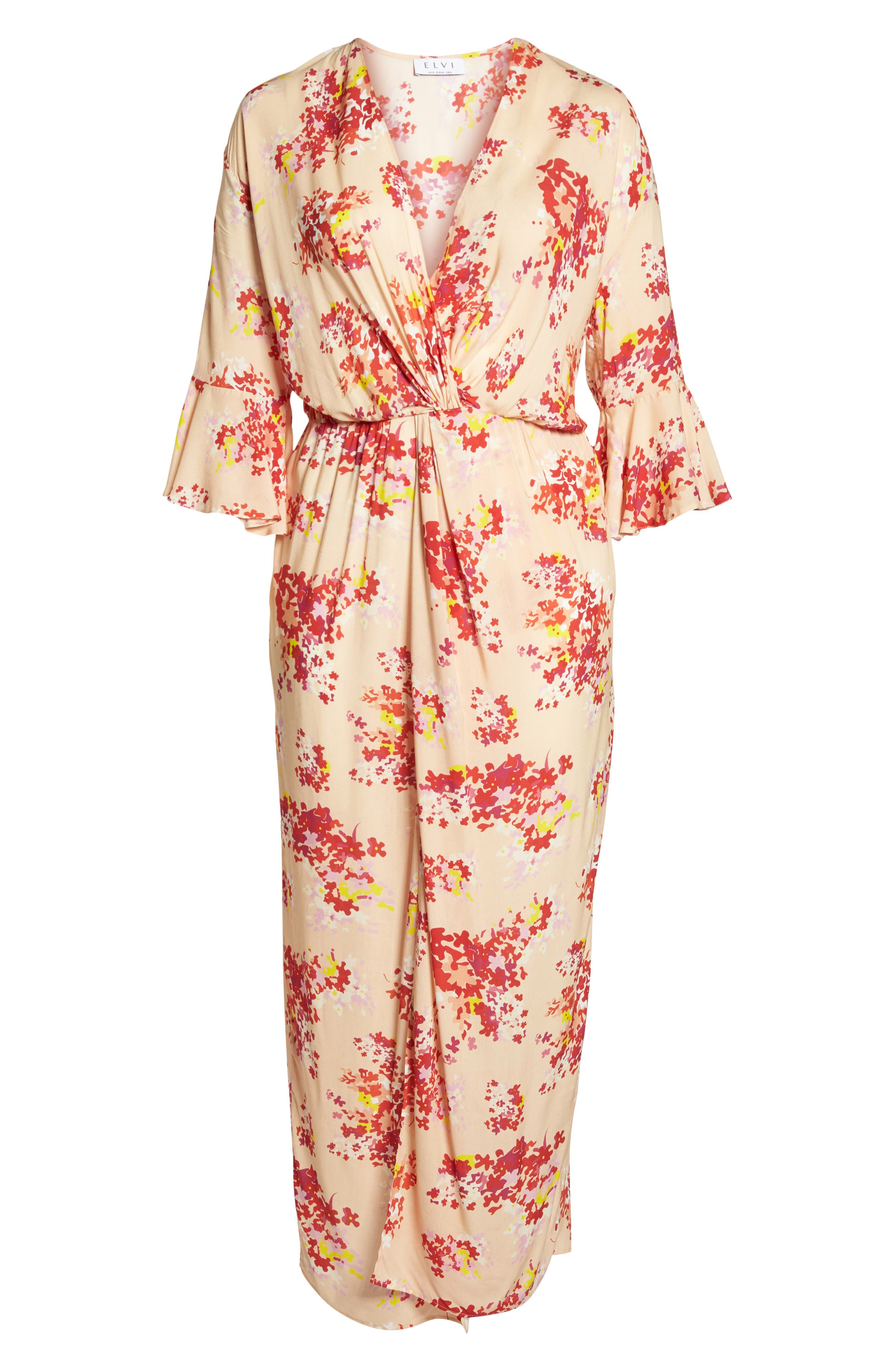 The Stasis Wrap Maxi Dress,                             Alternate thumbnail 6, color,                             Peach