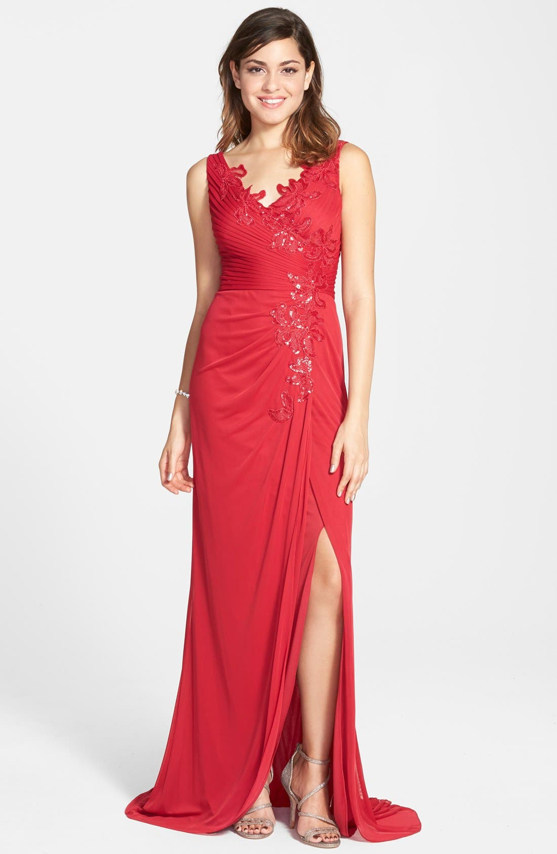 Alternate Image 1 Selected - Adrianna Papell Sequin Tulle Faux Wrap Gown