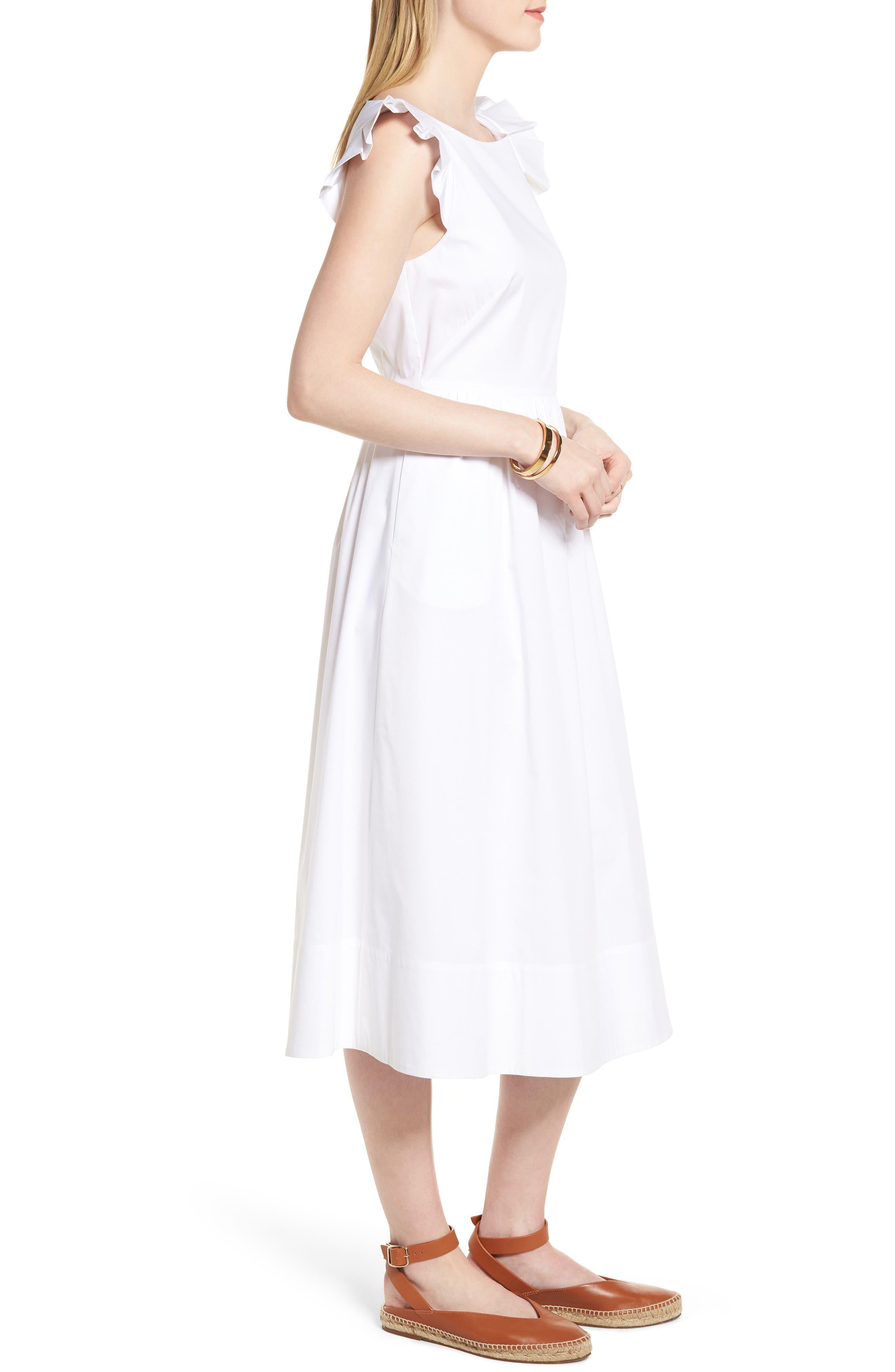Ruffle Fit & Flare Midi Dress,                             Alternate thumbnail 3, color,                             White