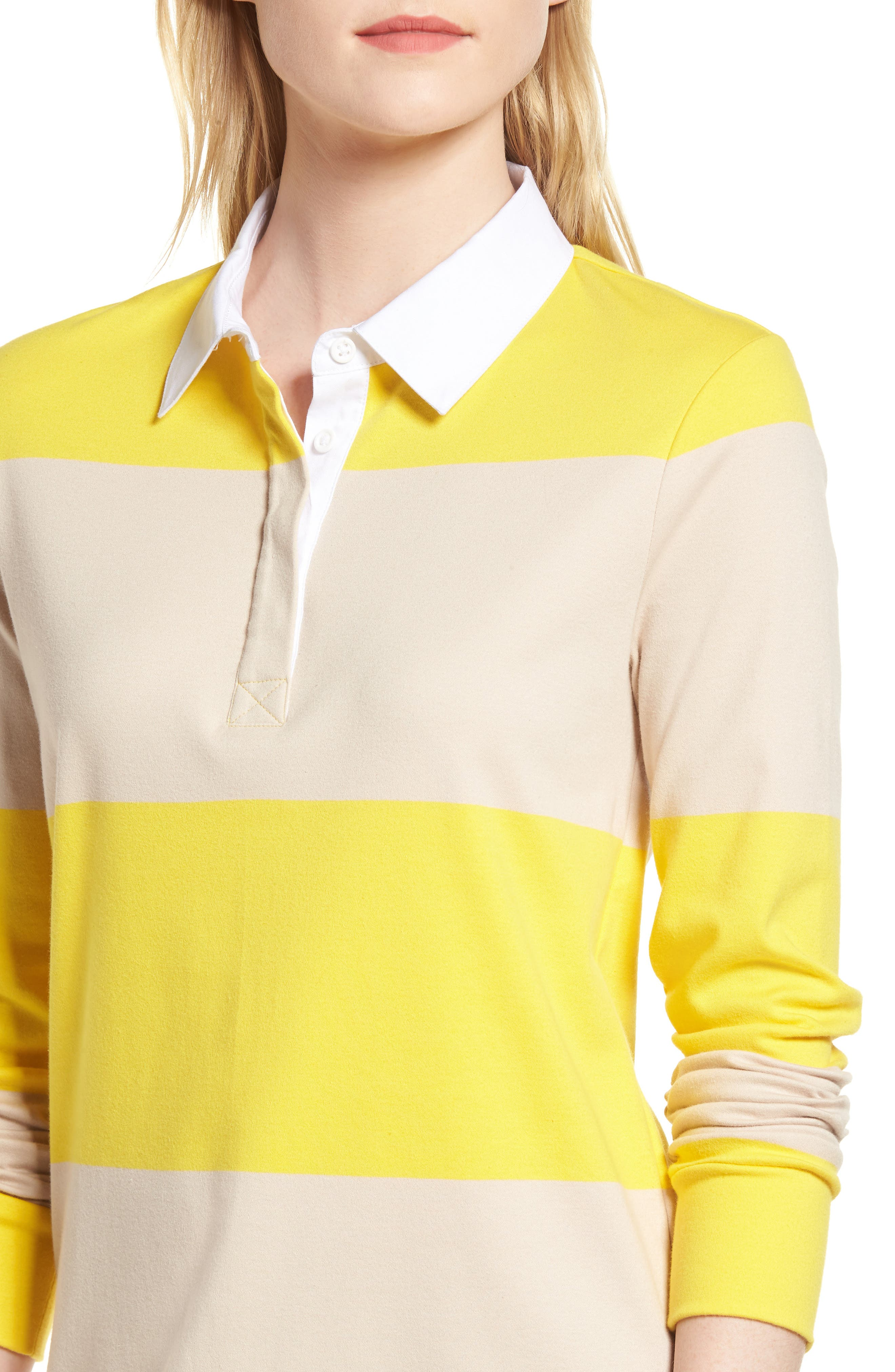 Cotton Rugby Dress,                             Alternate thumbnail 4, color,                             Yellow- Beige Stripe