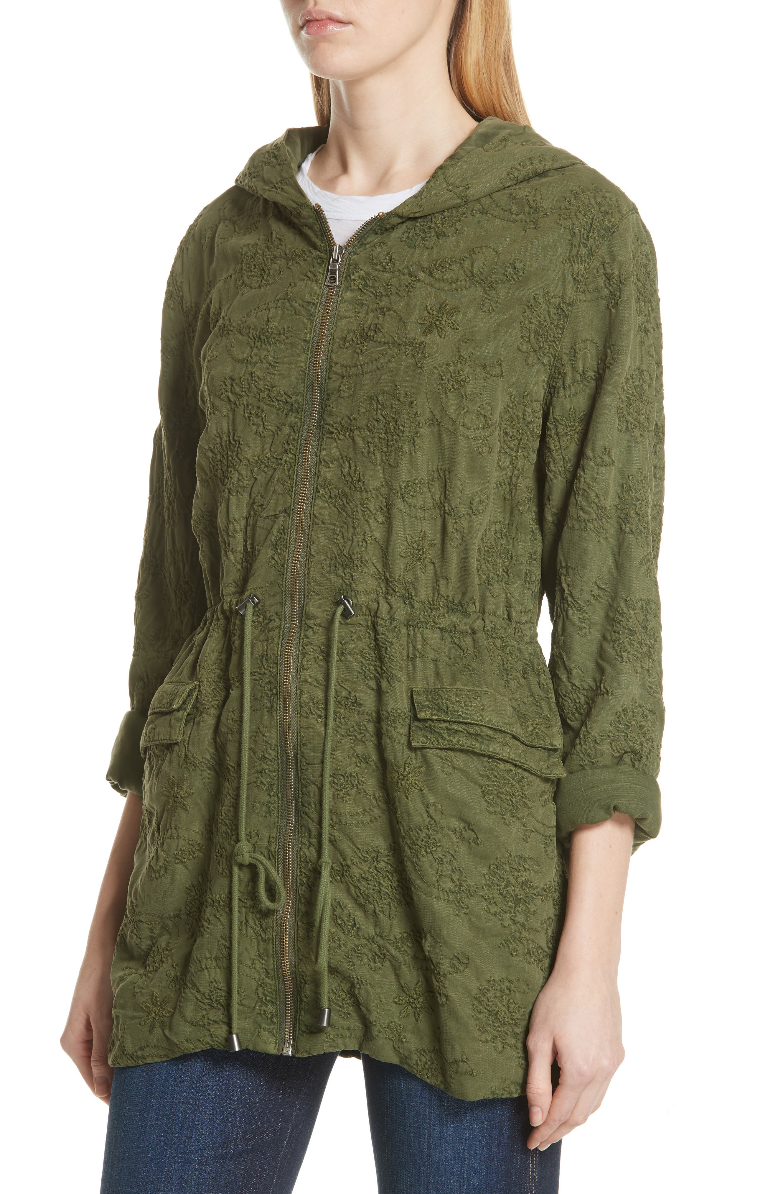 Marna Embroidered Hooded Parka,                             Alternate thumbnail 3, color,                             Olive