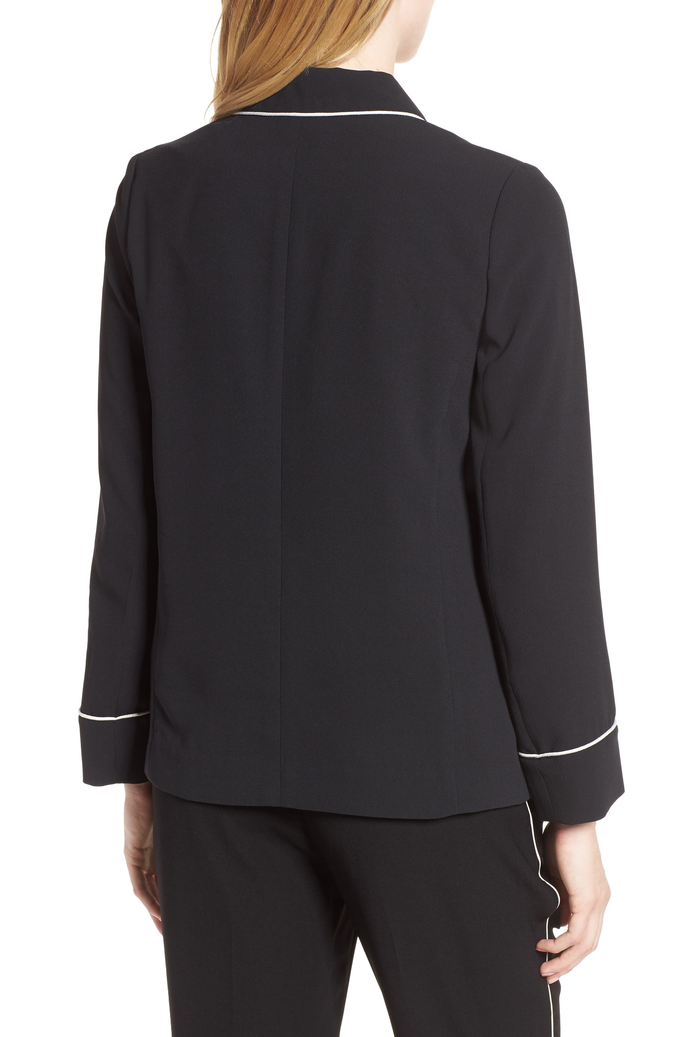 Double Breasted Jacket,                             Alternate thumbnail 2, color,                             Black/ Bright White Piping
