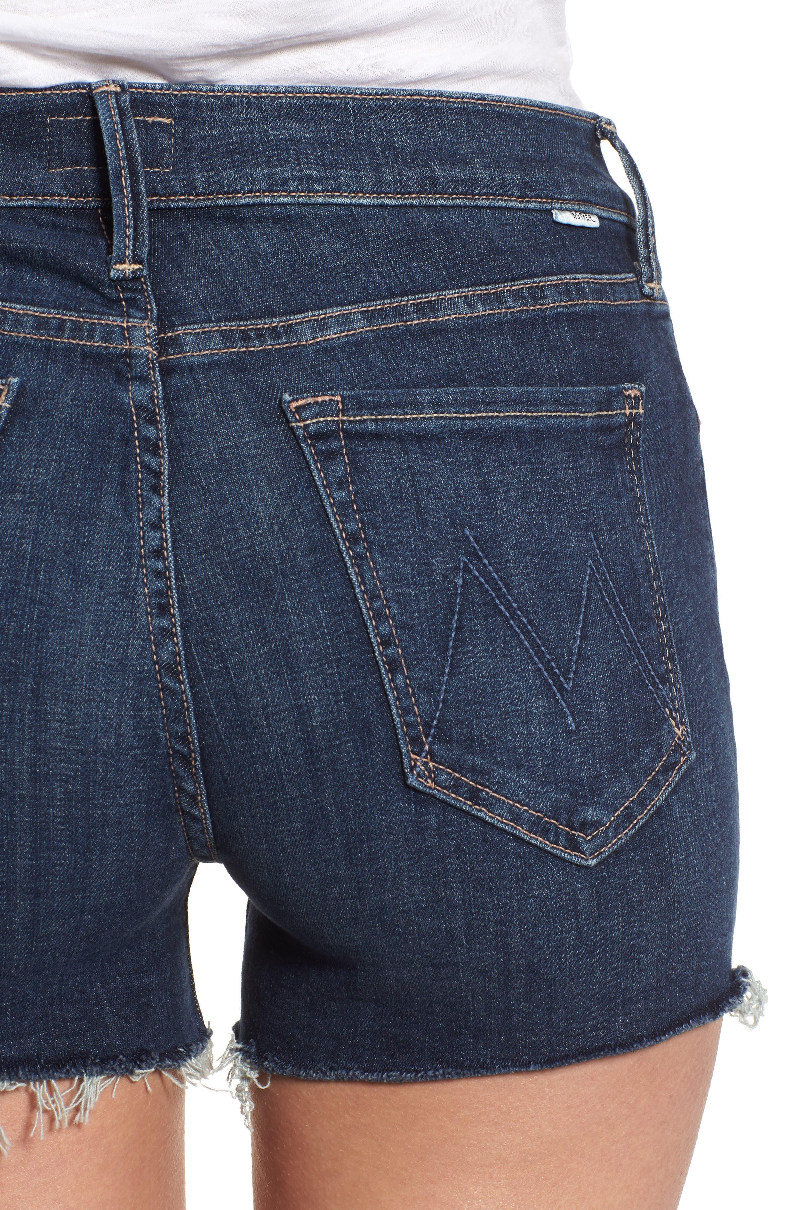 The Charmer Fray Denim Shorts,                             Alternate thumbnail 4, color,                             Girl Crush