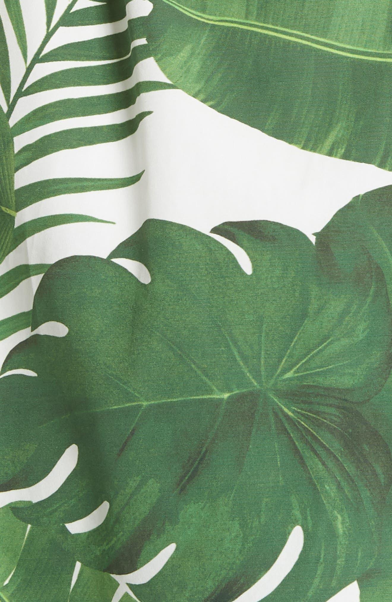 Margot Leaf Print Midi Dress,                             Alternate thumbnail 5, color,                             Tropical Leaves