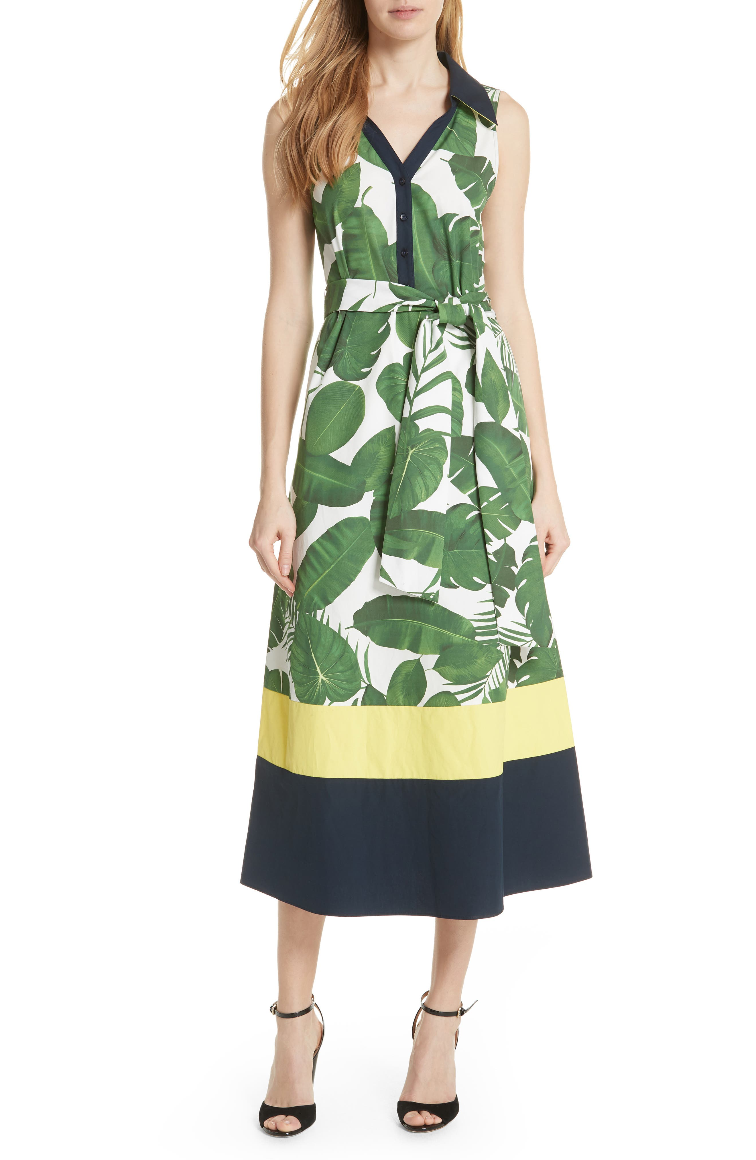 Margot Leaf Print Midi Dress,                             Main thumbnail 1, color,                             Tropical Leaves