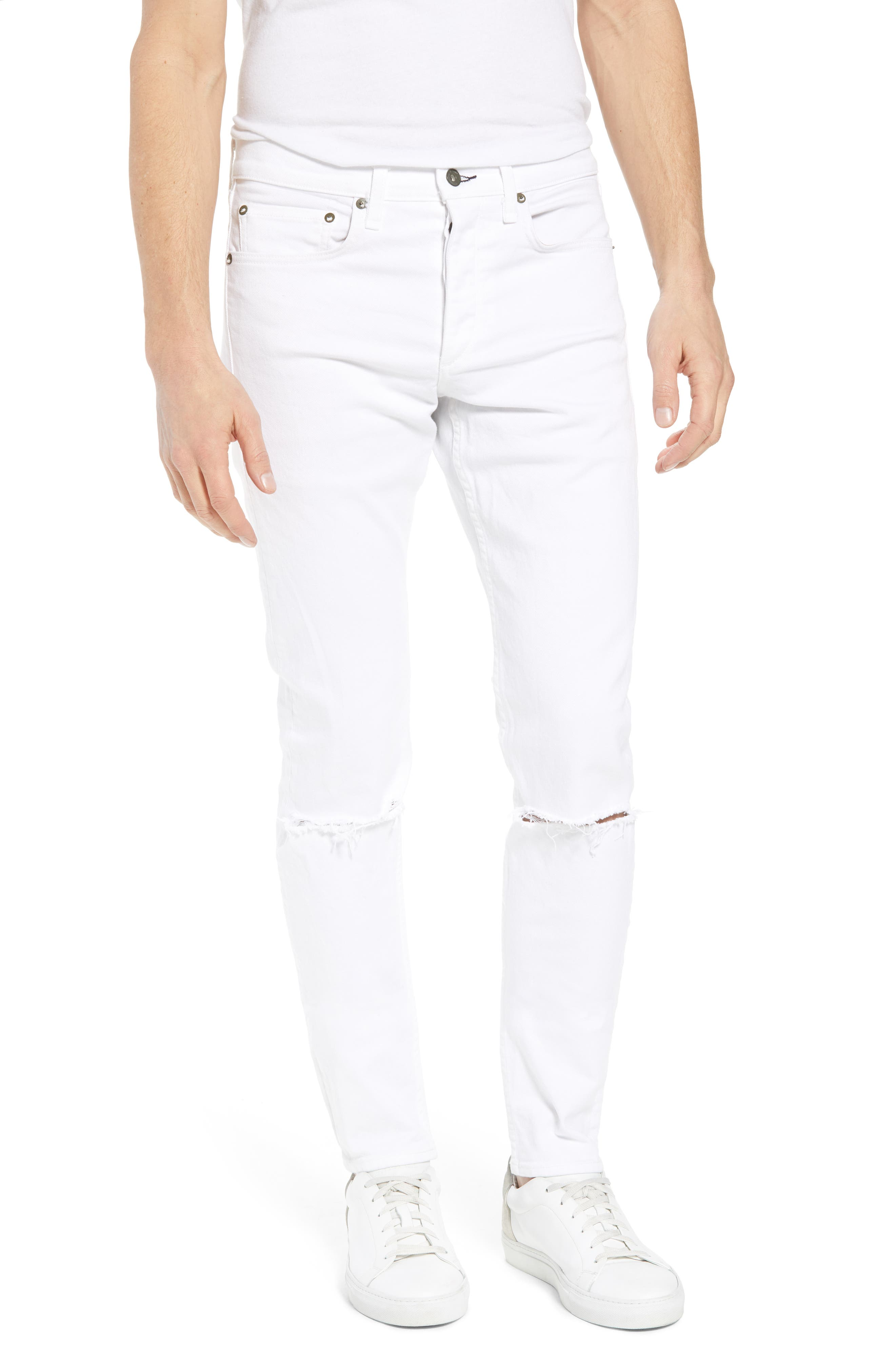 Fit 1 Skinny Fit Jeans,                             Main thumbnail 1, color,                             White W/ Holes