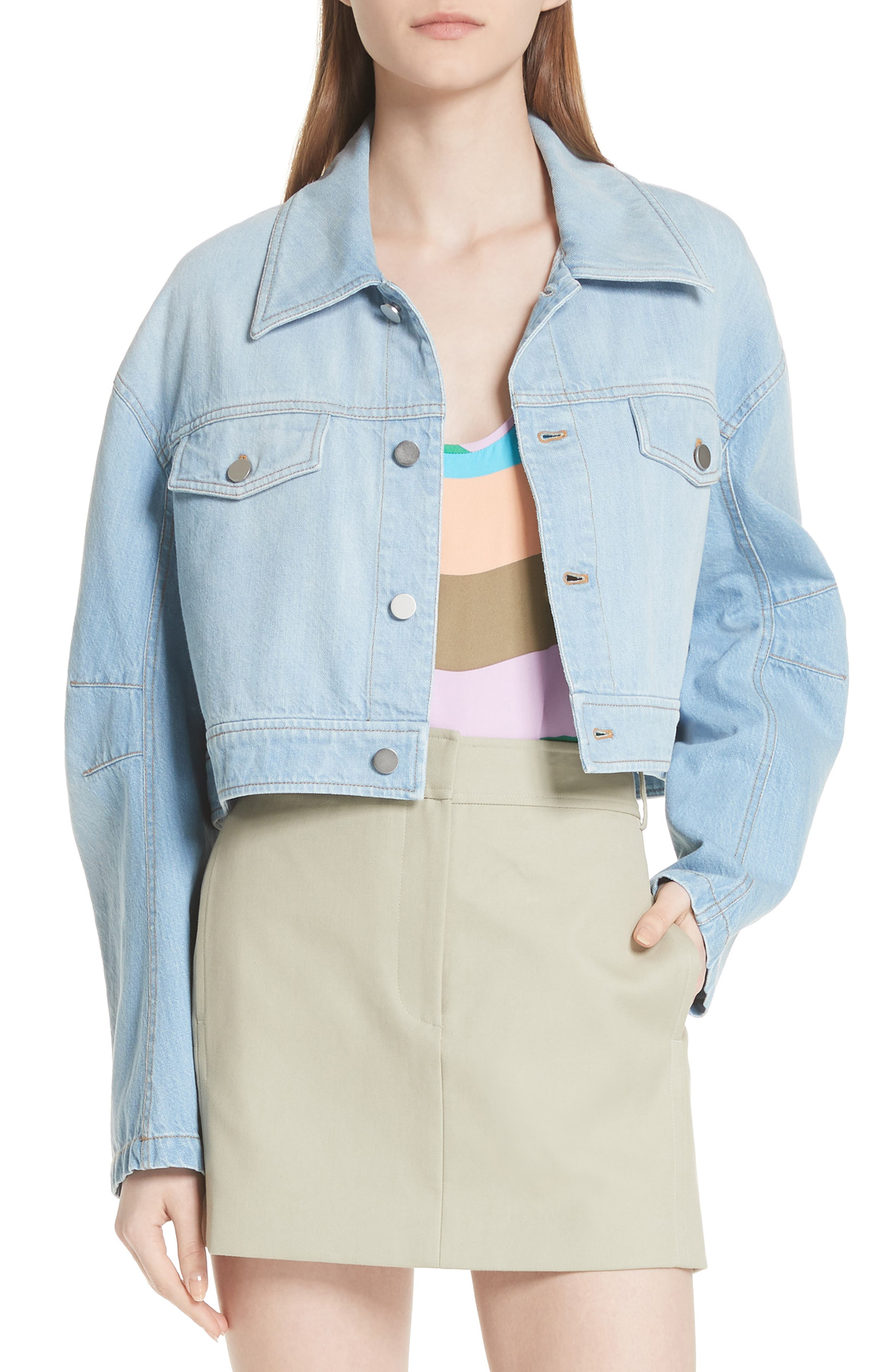 Crop Denim Jacket,                         Main,                         color, Vintage Stone Wash