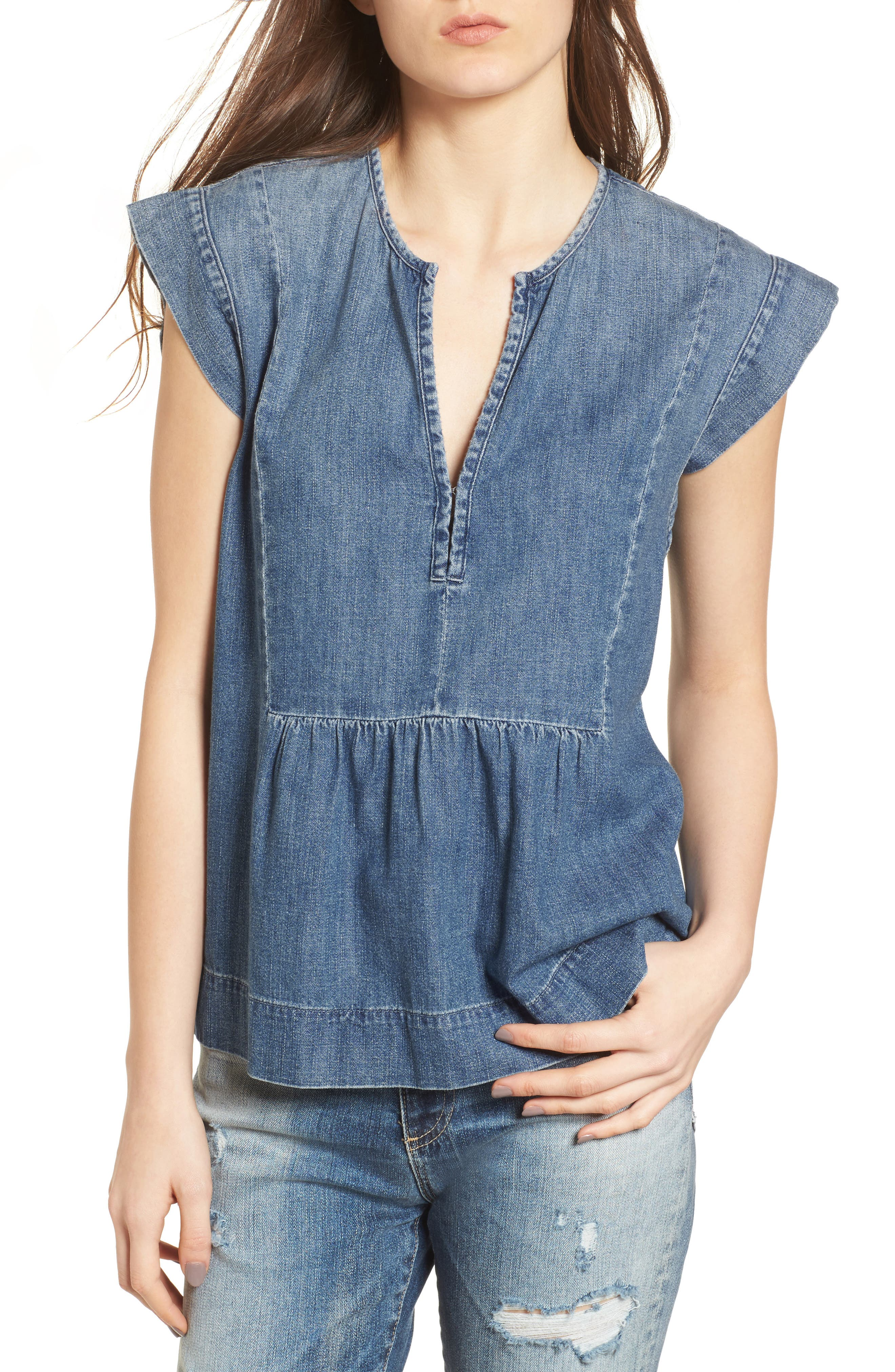 The Trista Denim Top,                         Main,                         color, Blue Buff