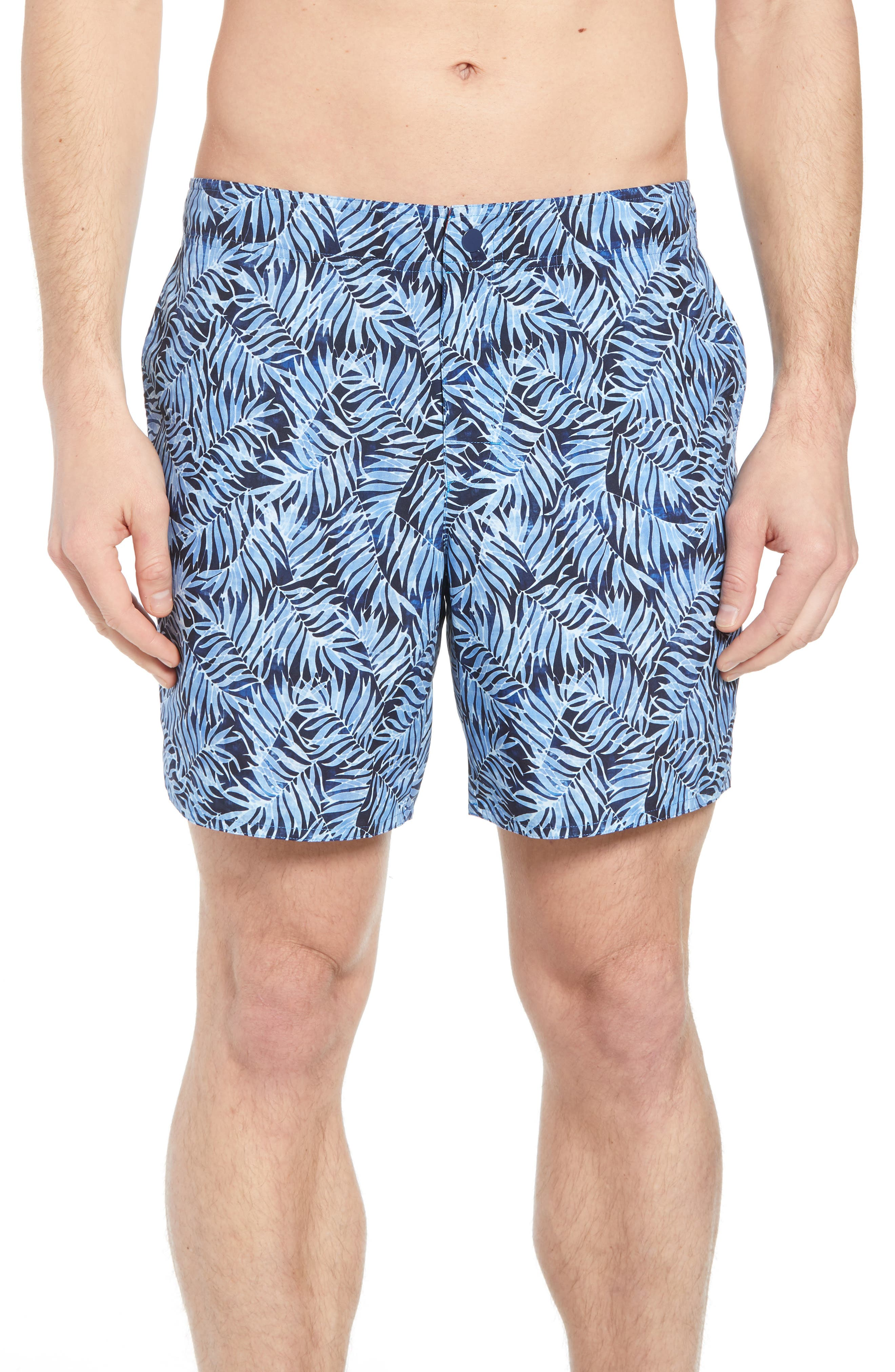 Avondale Palm Print Swim Trunks,                         Main,                         color, Blue