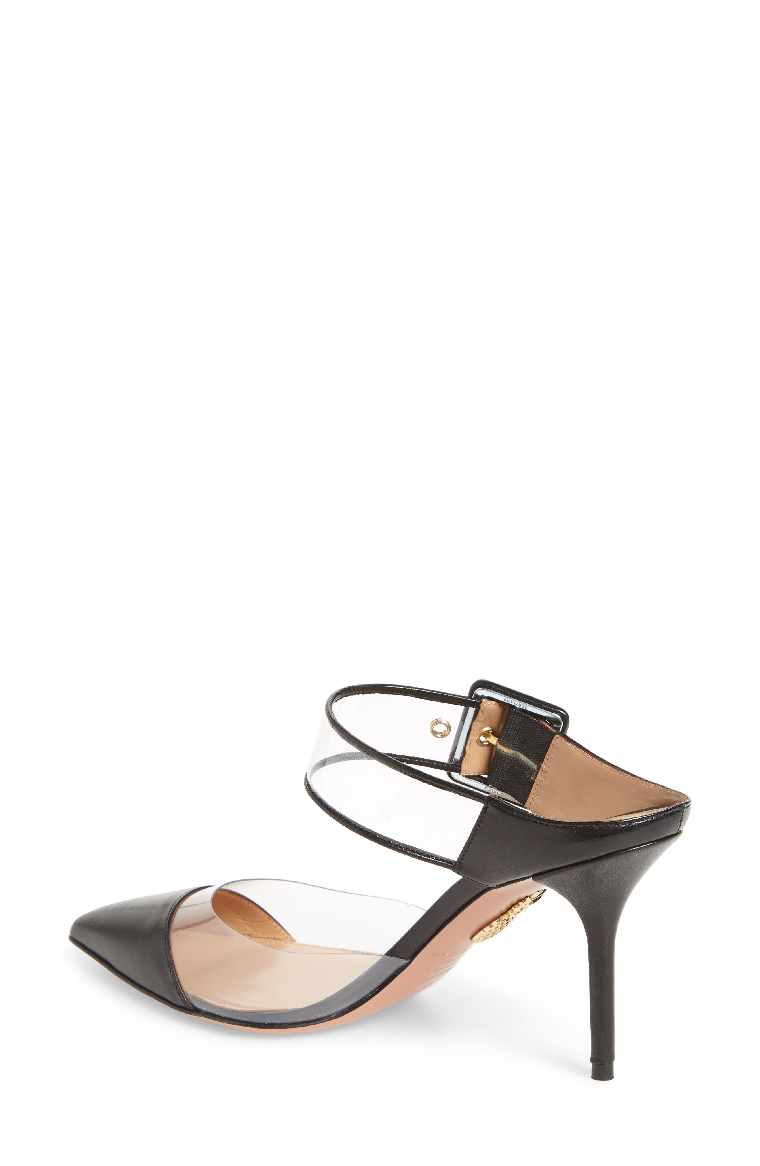 Optic Clear Pointy Toe Mule,                             Alternate thumbnail 2, color,                             Black