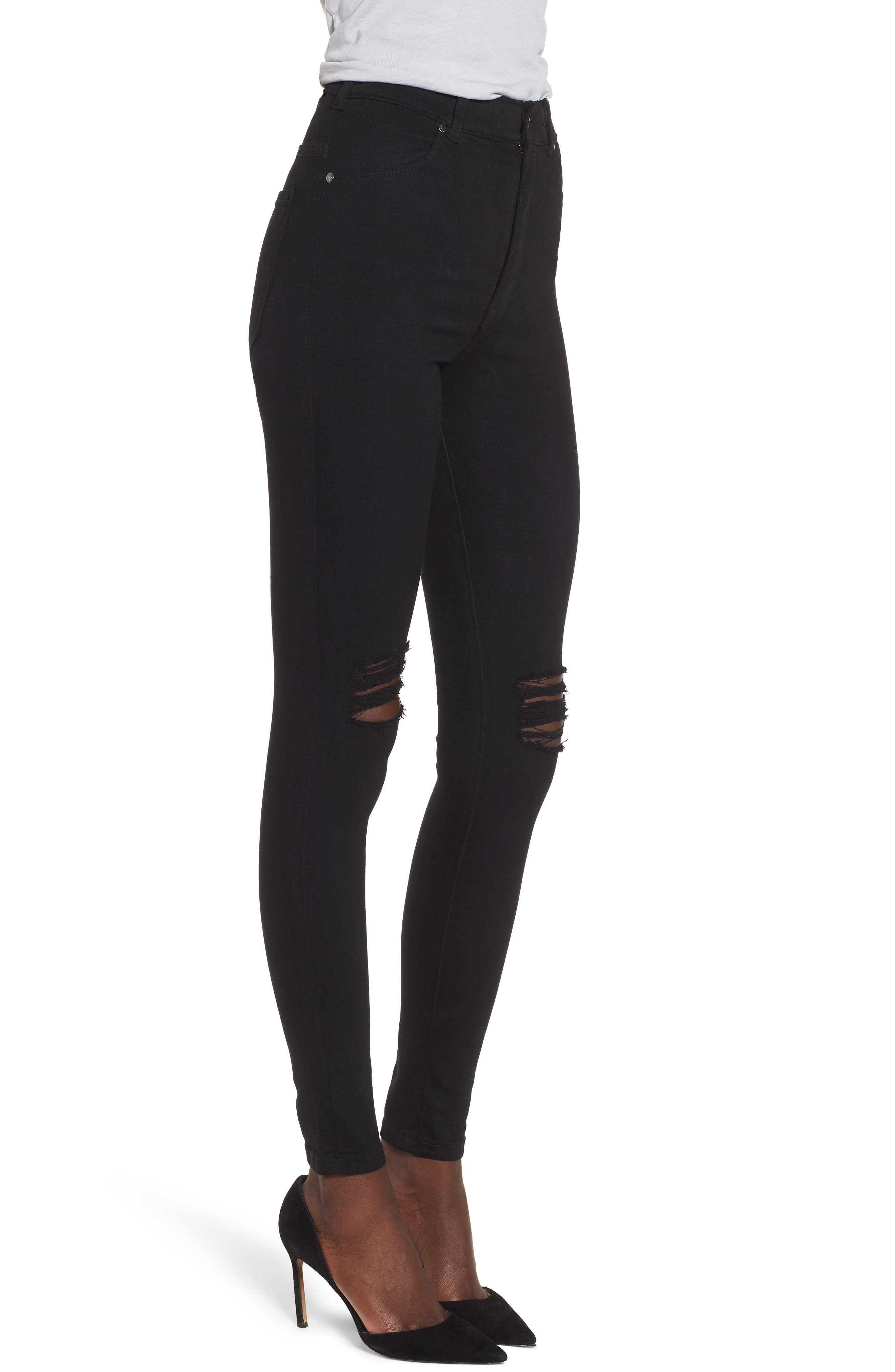 Moxy Ripped Knee Skinny Jeans,                             Alternate thumbnail 3, color,                             Black