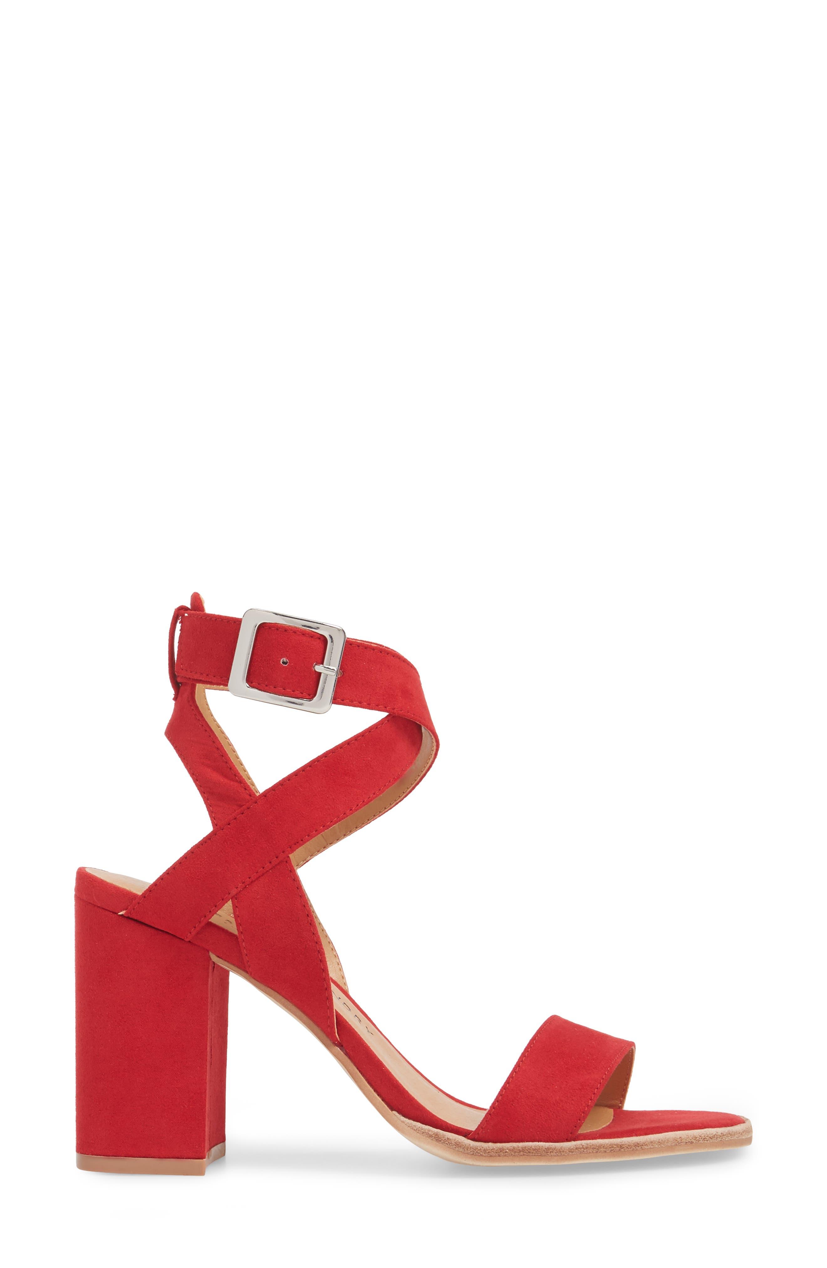 Stassi Block Heel Sandal,                             Alternate thumbnail 3, color,                             Red