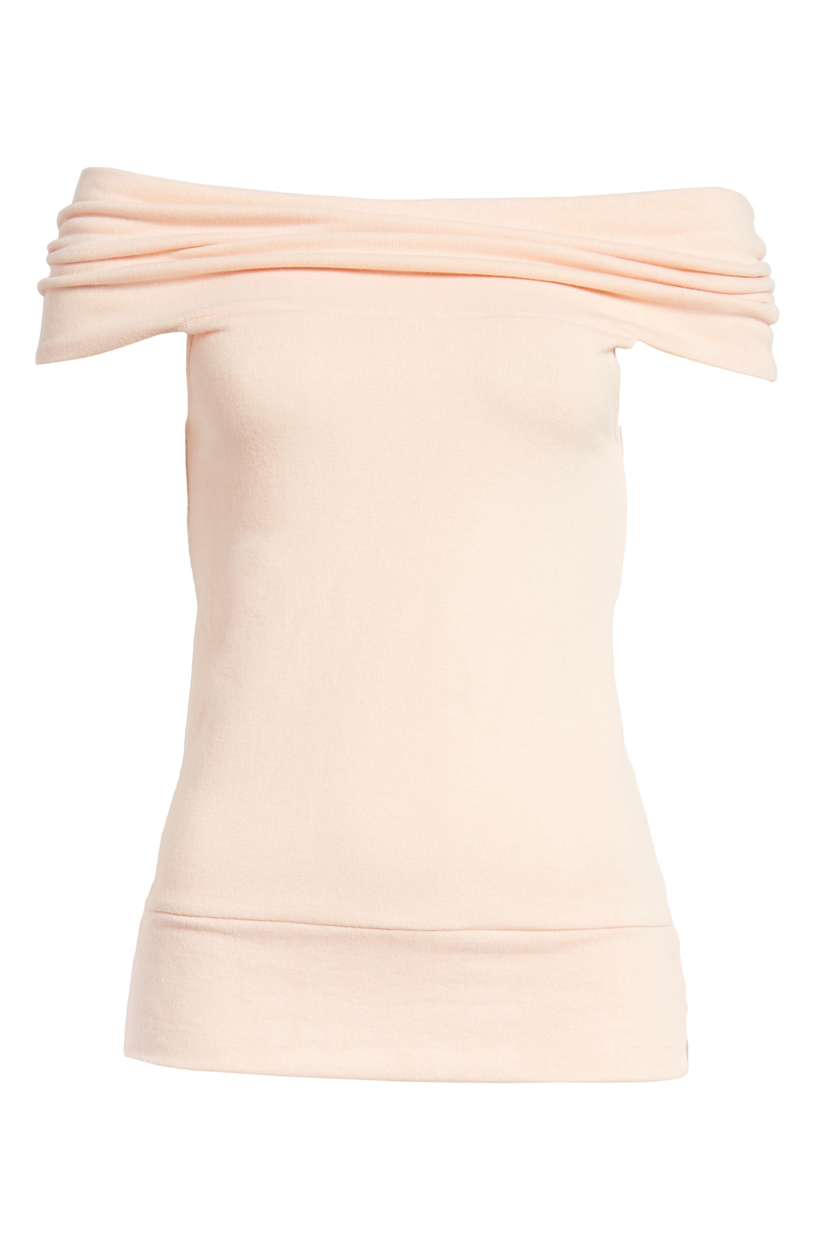 Cathie Off the Shoulder Top,                             Alternate thumbnail 7, color,                             Peach Parfait