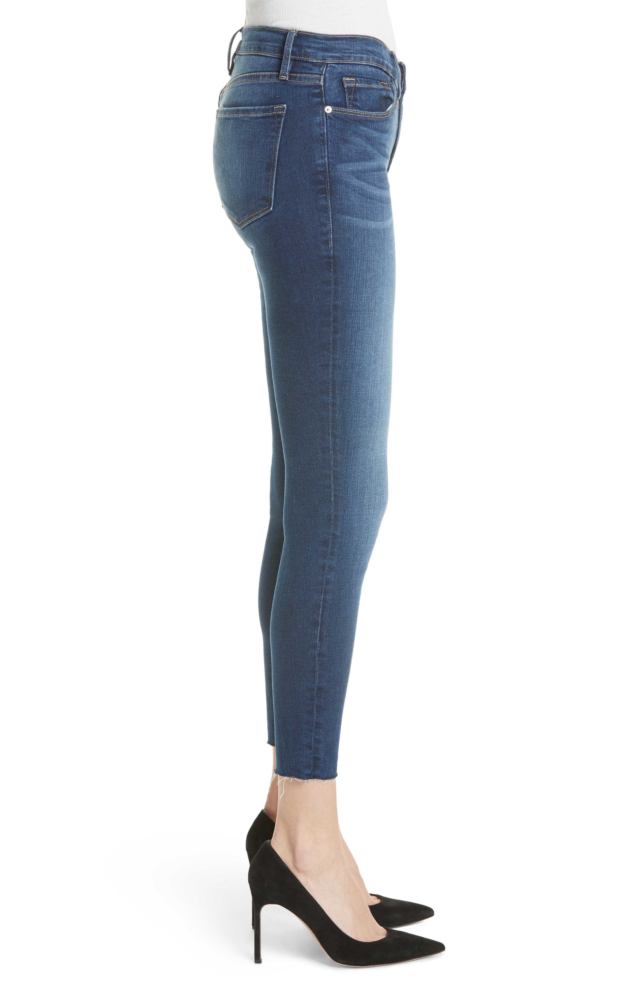 Le Skinny de Jeanne Raw Hem Crop Jeans,                             Alternate thumbnail 3, color,                             Cobbert Exclusive