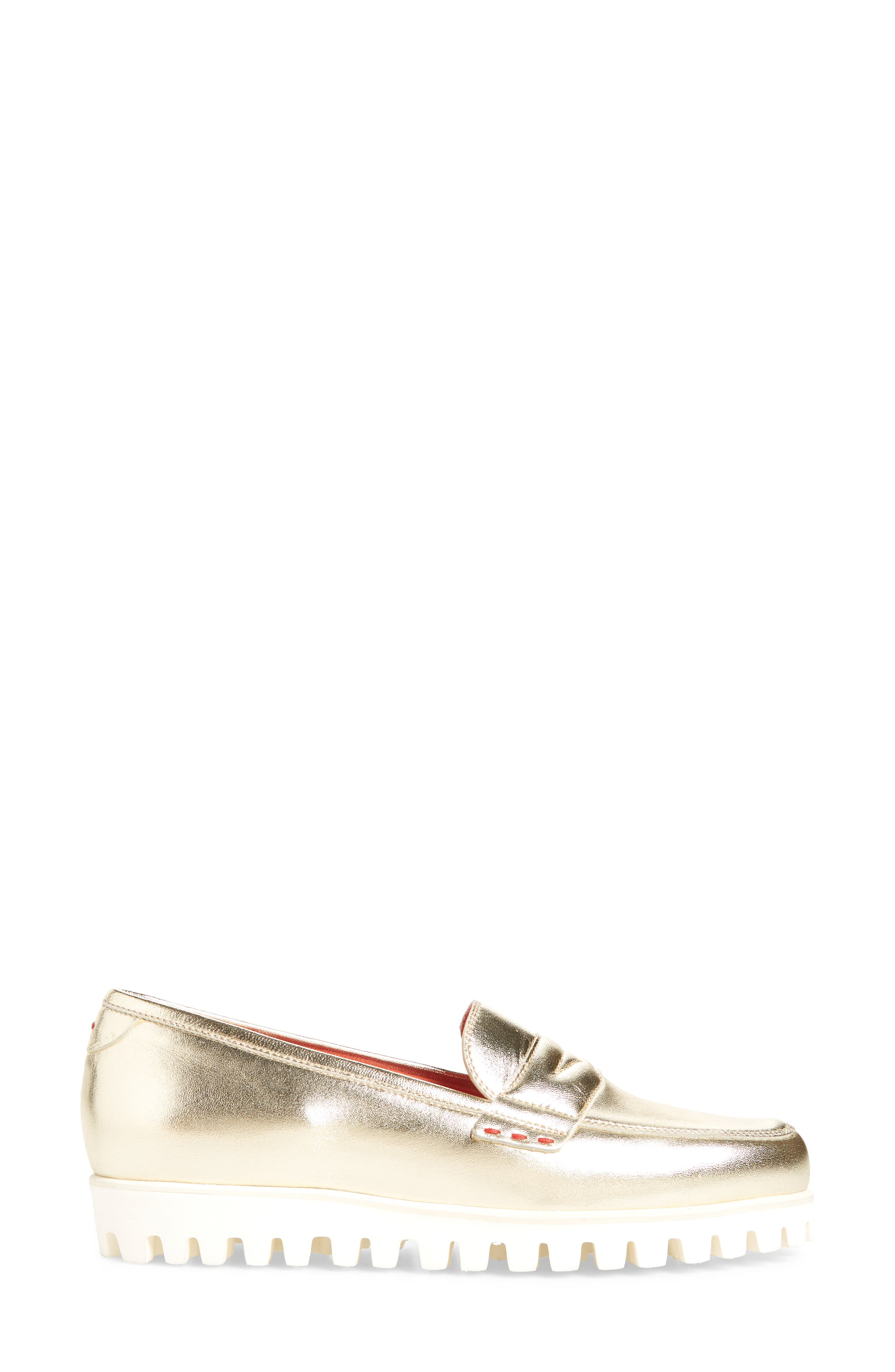 Marta Loafer,                             Alternate thumbnail 3, color,                             Gold Leather