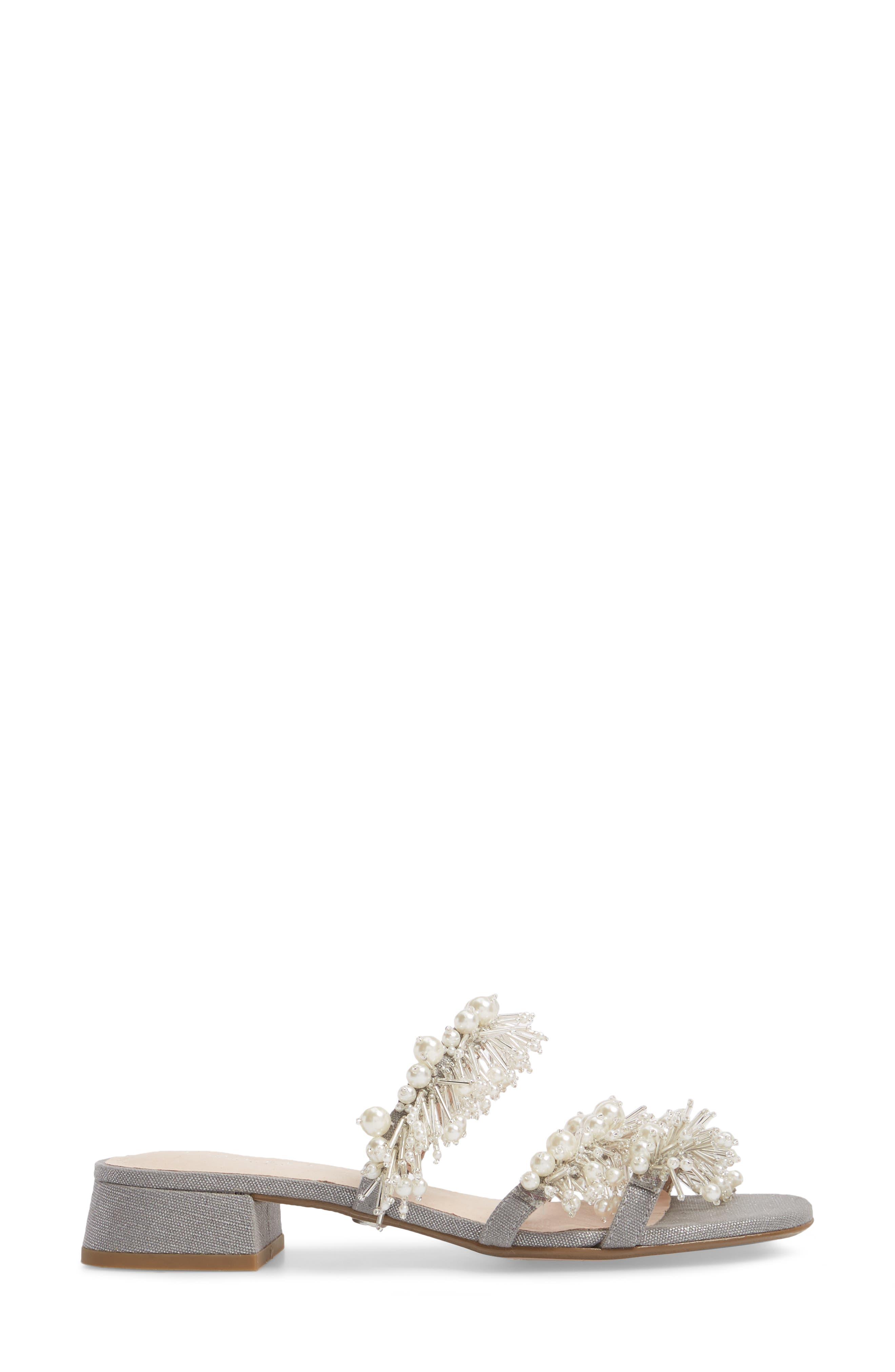 Fes Embellished Slide Sandal,                             Alternate thumbnail 3, color,                             Grey Fabric