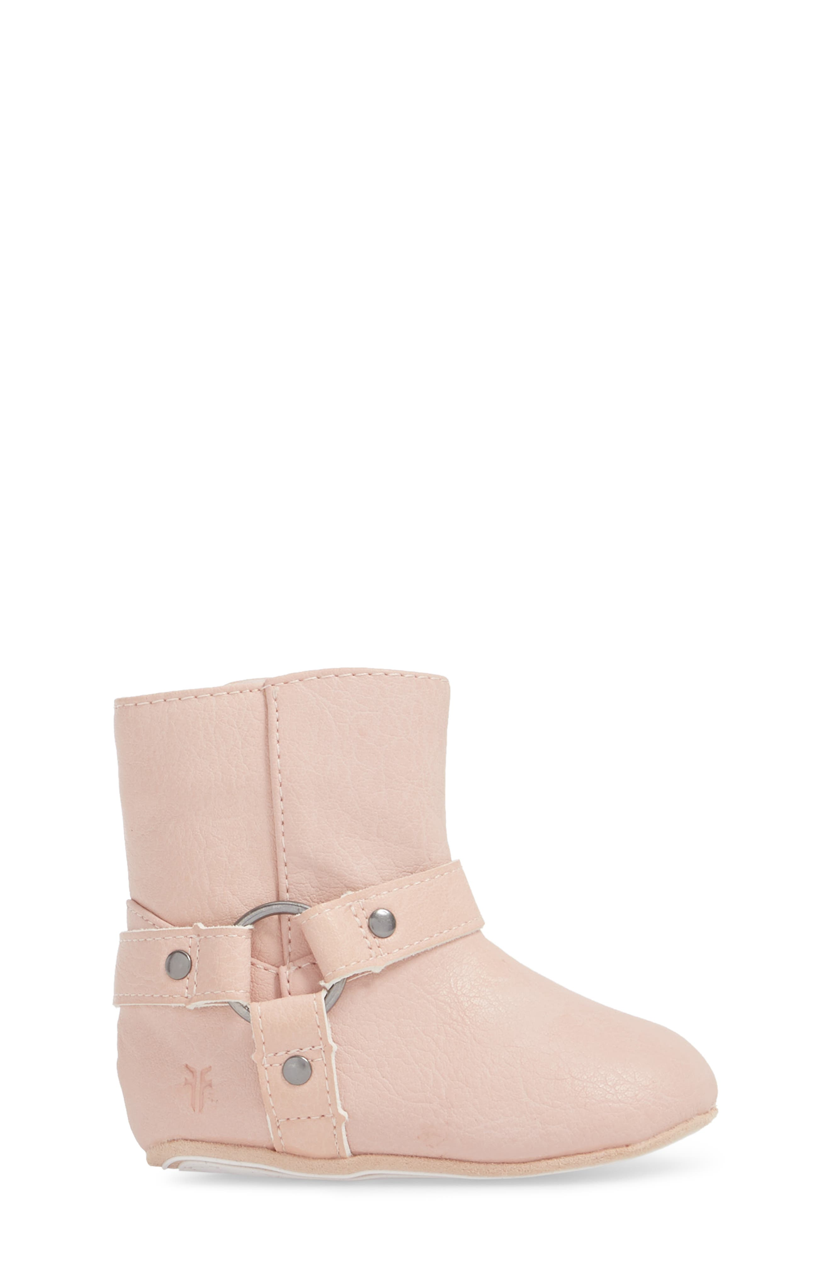 Harness Boot Crib Shoe,                             Alternate thumbnail 3, color,                             Baby Pink