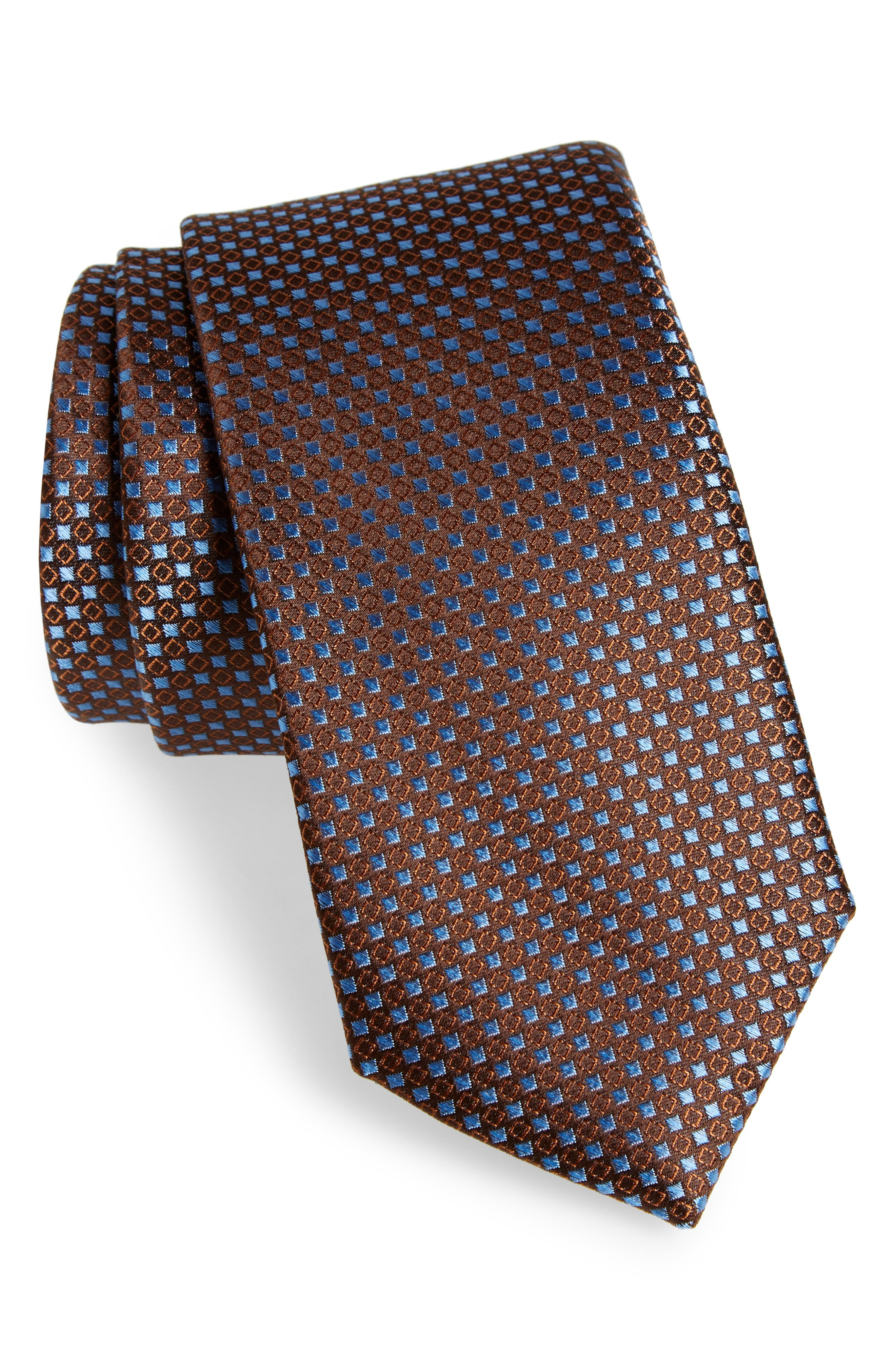 Chad Microdot Silk Tie,                         Main,                         color, Brown
