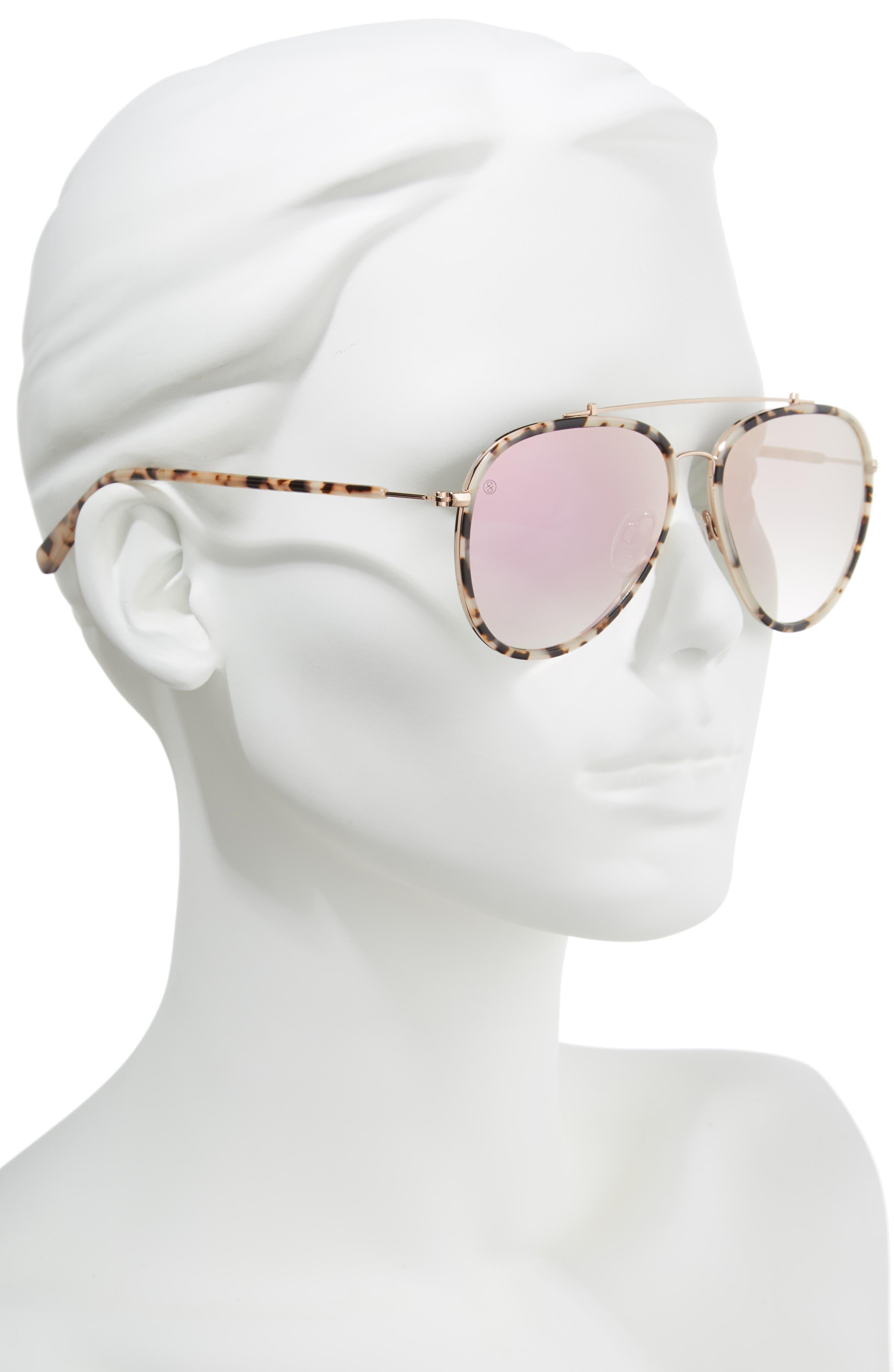 D'BLANC The Last 57mm Aviator Sunglasses,                             Alternate thumbnail 2, color,                             Snow Leopard/ Rose Flash