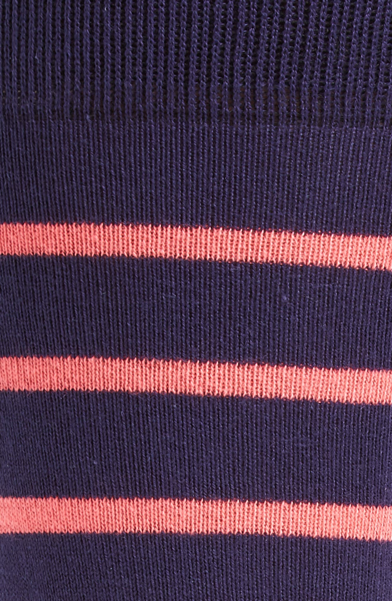 Stripe Crew Socks,                             Alternate thumbnail 2, color,                             Black/ Pink
