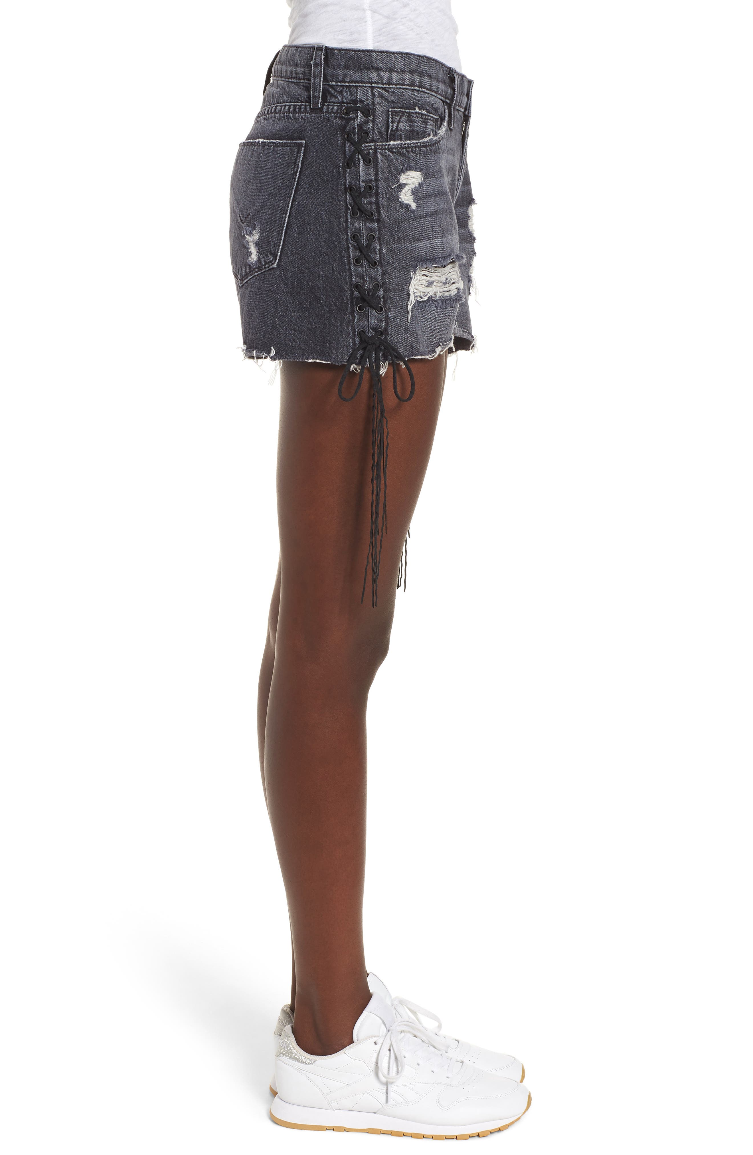 Sade Lace-Up Cutoff Denim Shorts,                             Alternate thumbnail 3, color,                             Mercury