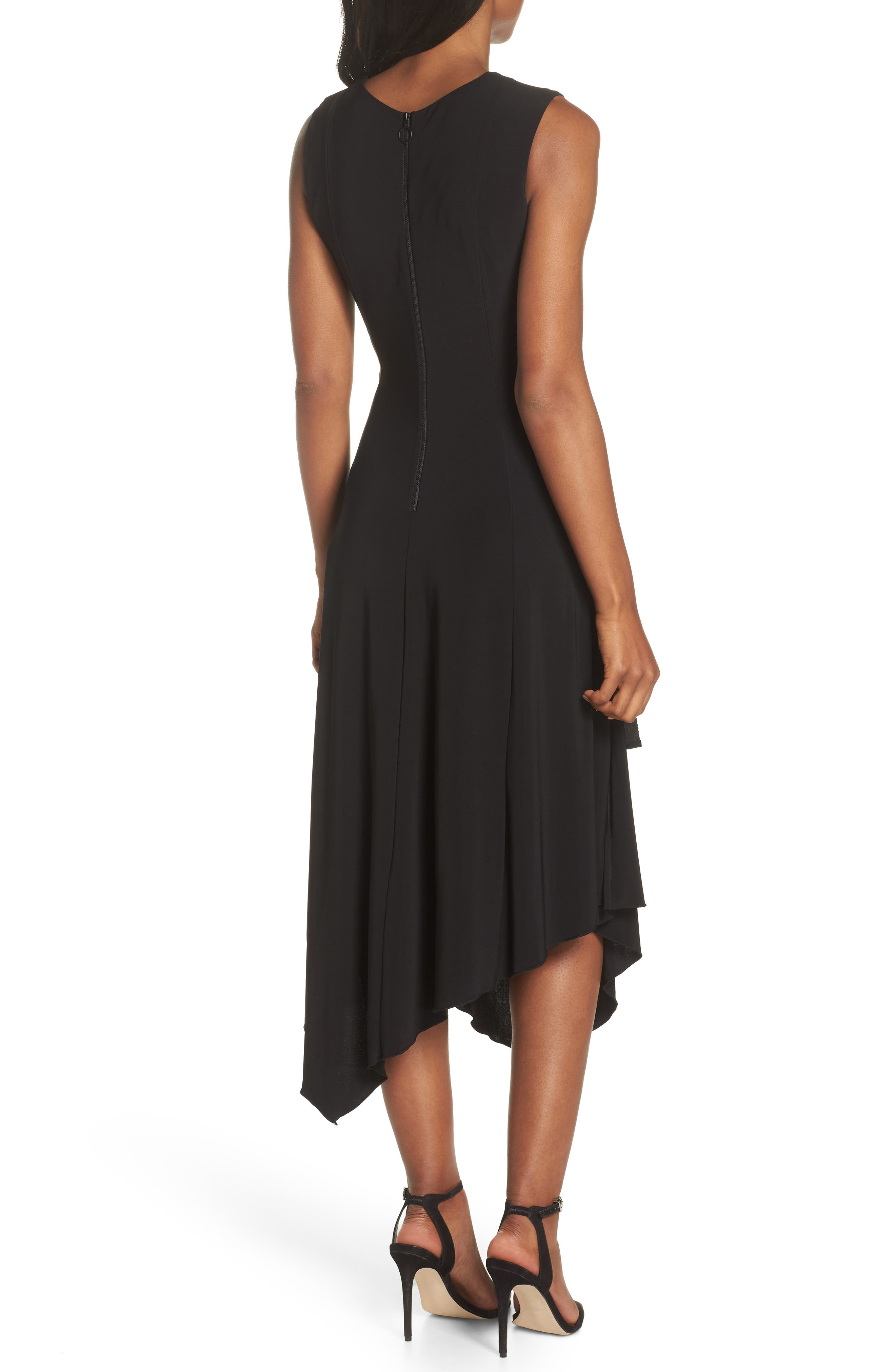 Ruched Side Tie Midi Dress,                             Alternate thumbnail 2, color,                             Black