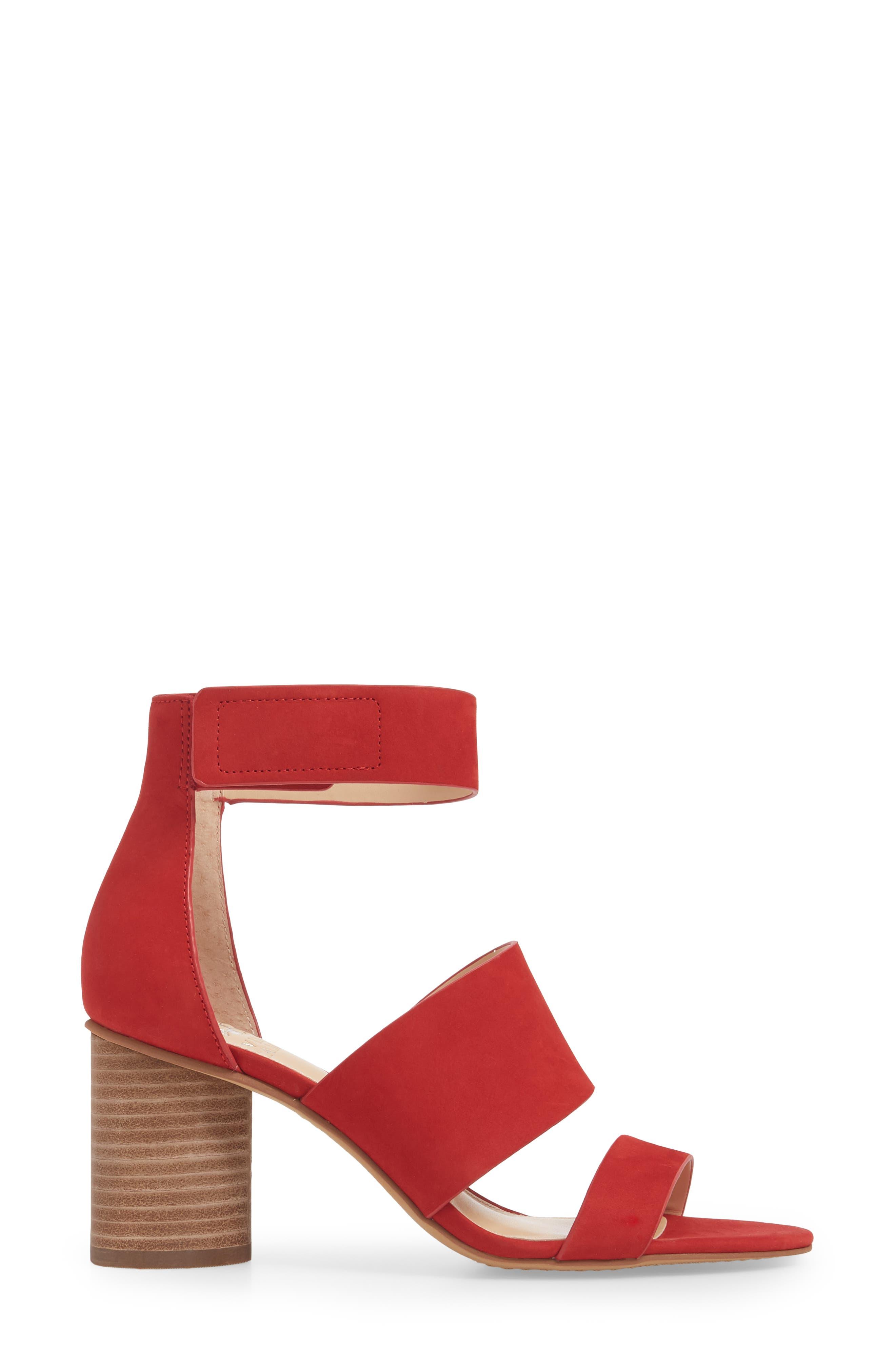 Junette Sandal,                             Alternate thumbnail 3, color,                             Cherry Red Leather