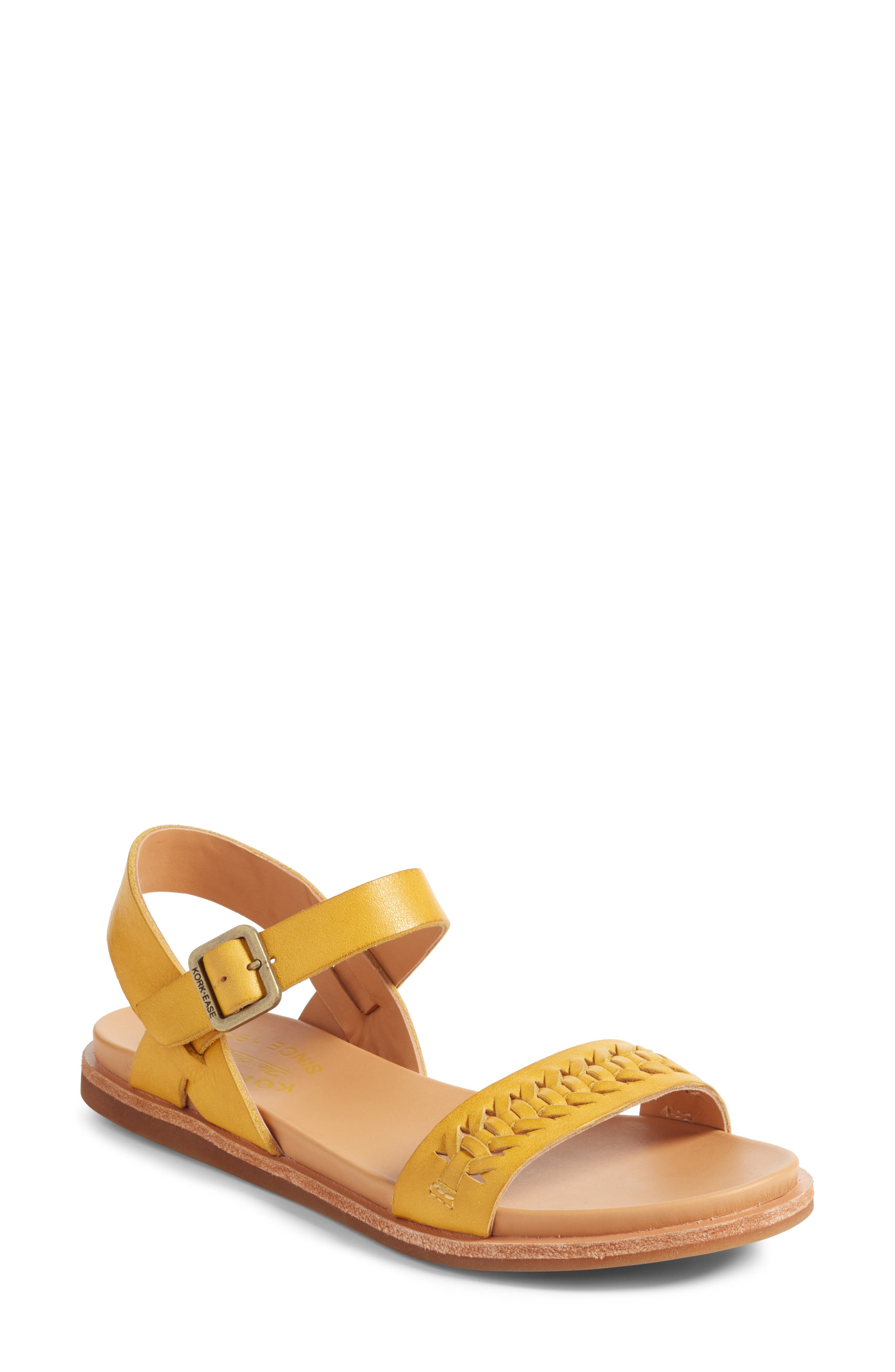 Yucca Braid Sandal,                         Main,                         color, Yellow Leather