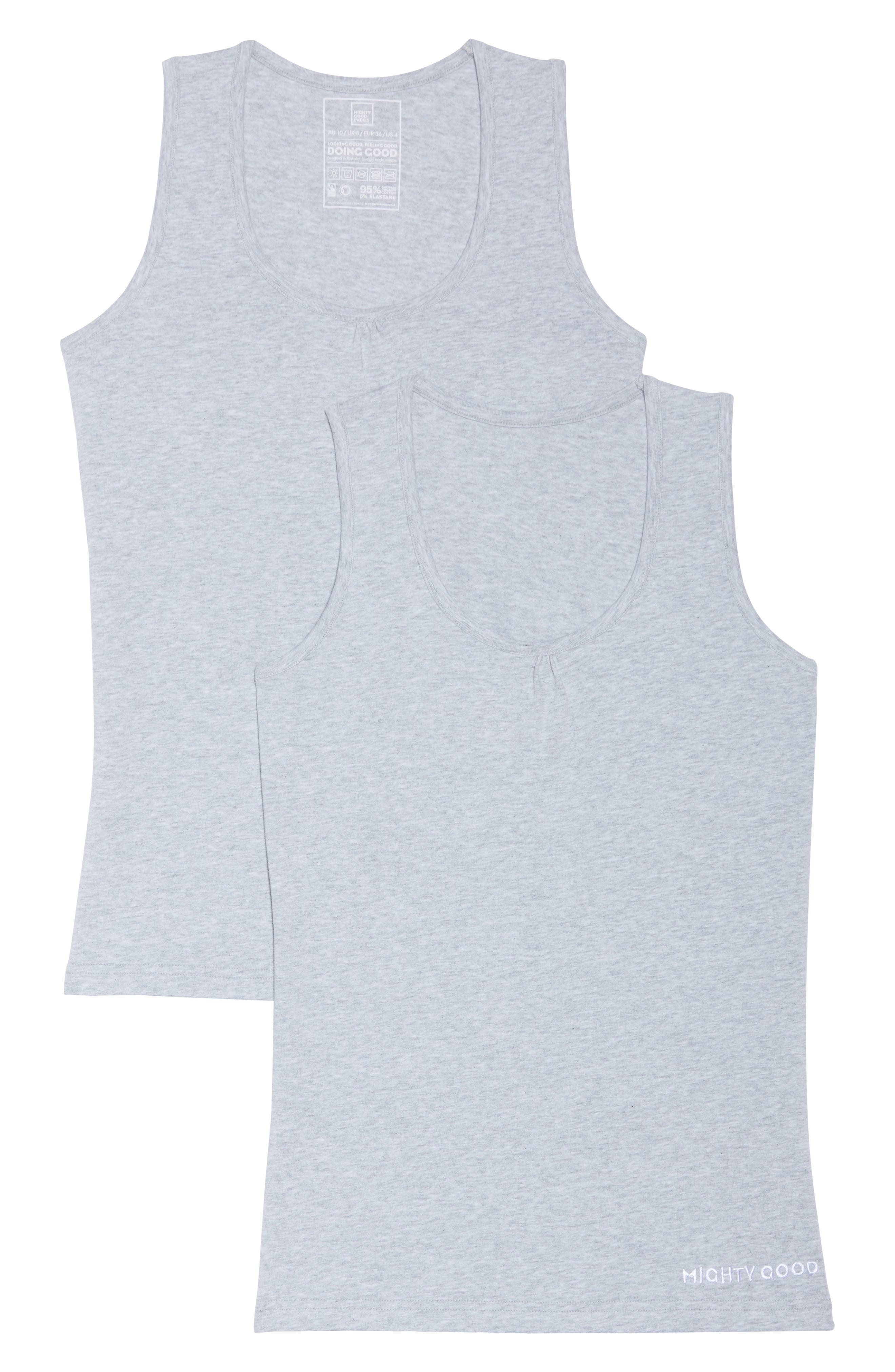 2-Pack Stretch Organic Cotton Muscle Tanks,                             Alternate thumbnail 2, color,                             Grey Marle