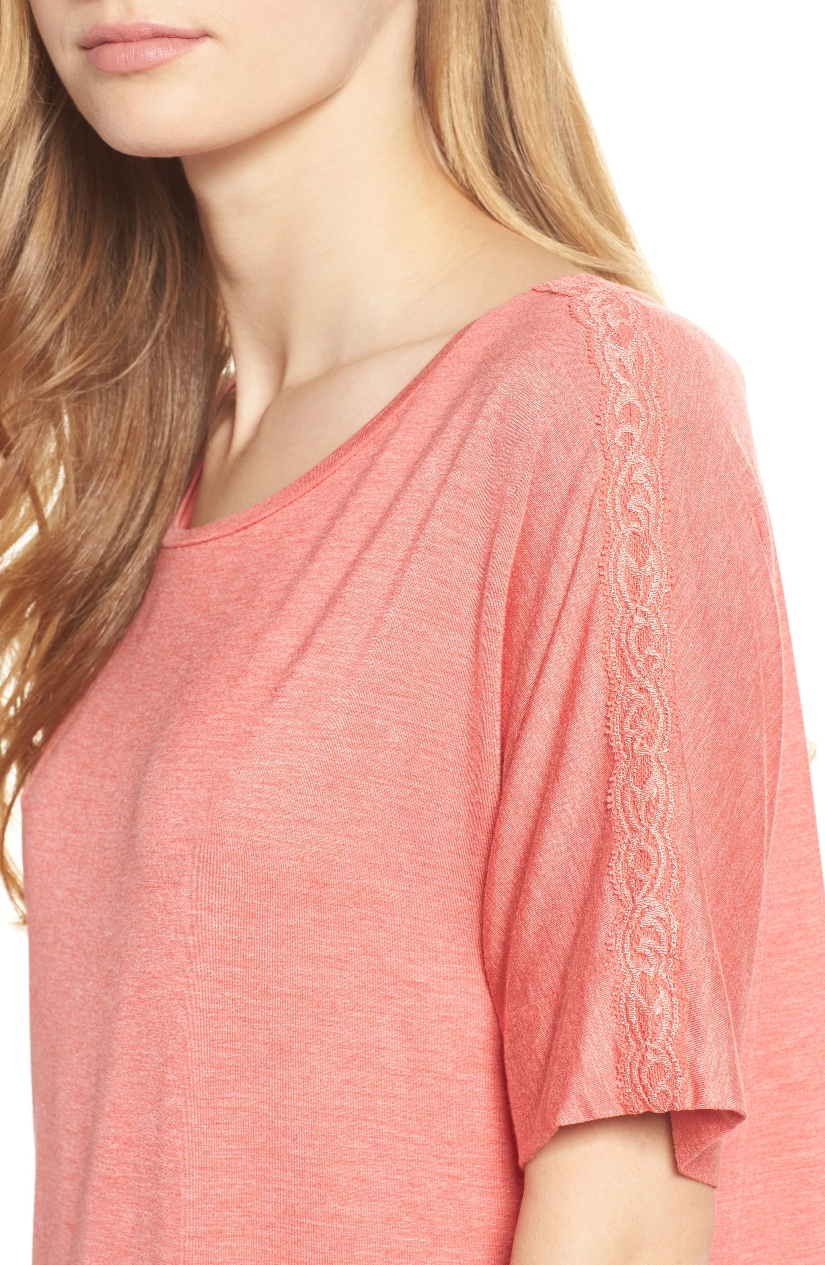 Feathers Essential Sleep Shirt,                             Alternate thumbnail 5, color,                             Coral