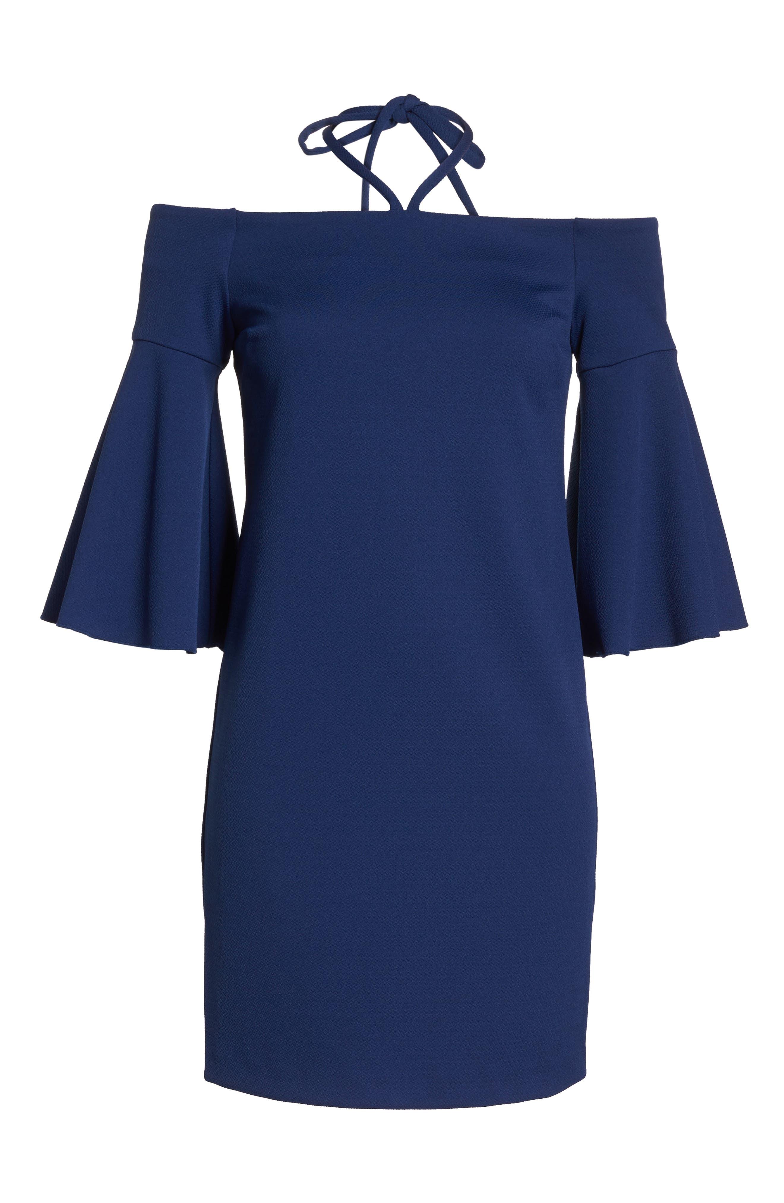 Shell Beach Bell Sleeve Halter Dress,                             Alternate thumbnail 6, color,                             Bondi Blue