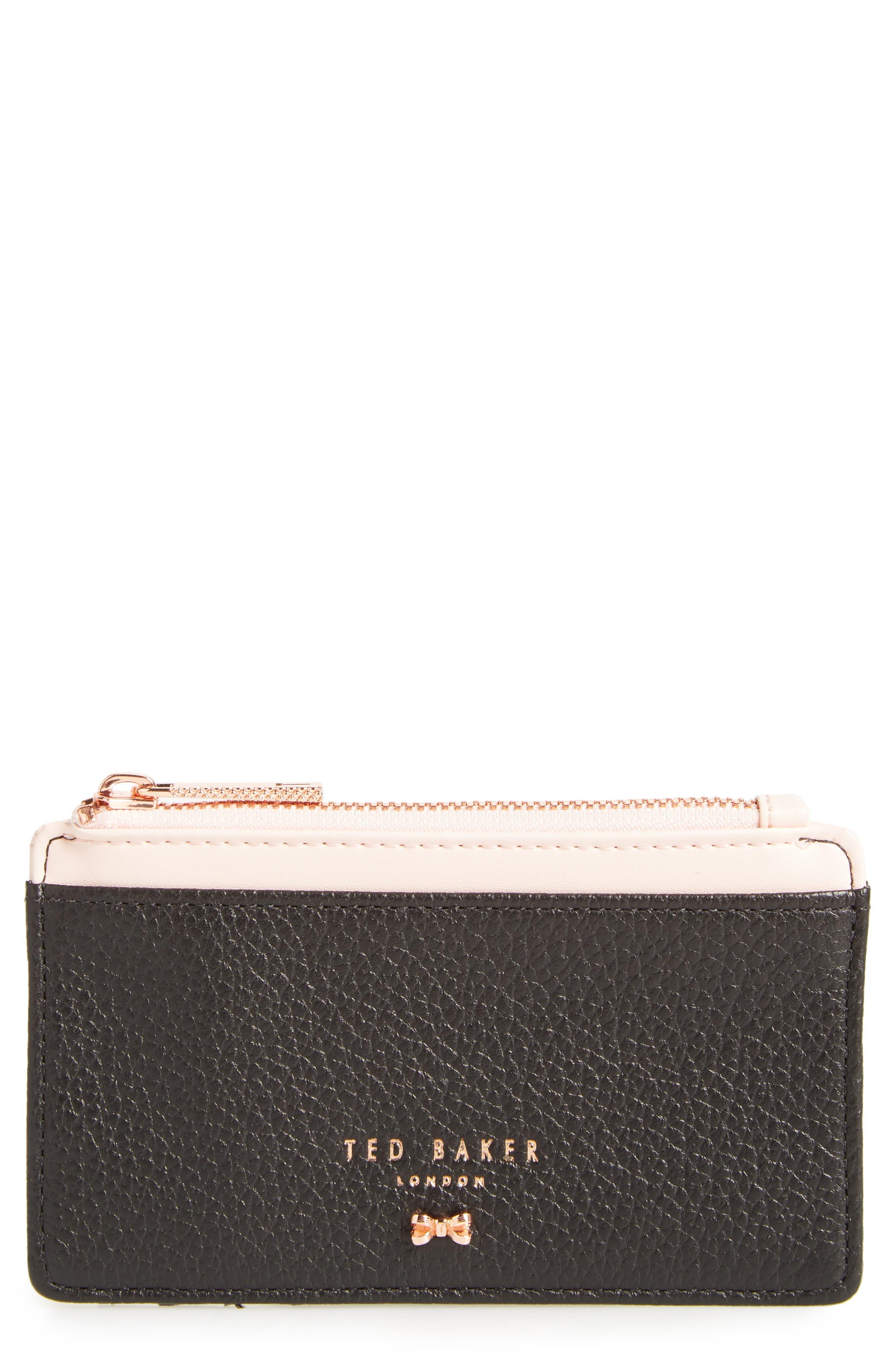Alica Top Zip Leather Card Case,                             Main thumbnail 1, color,                             Black