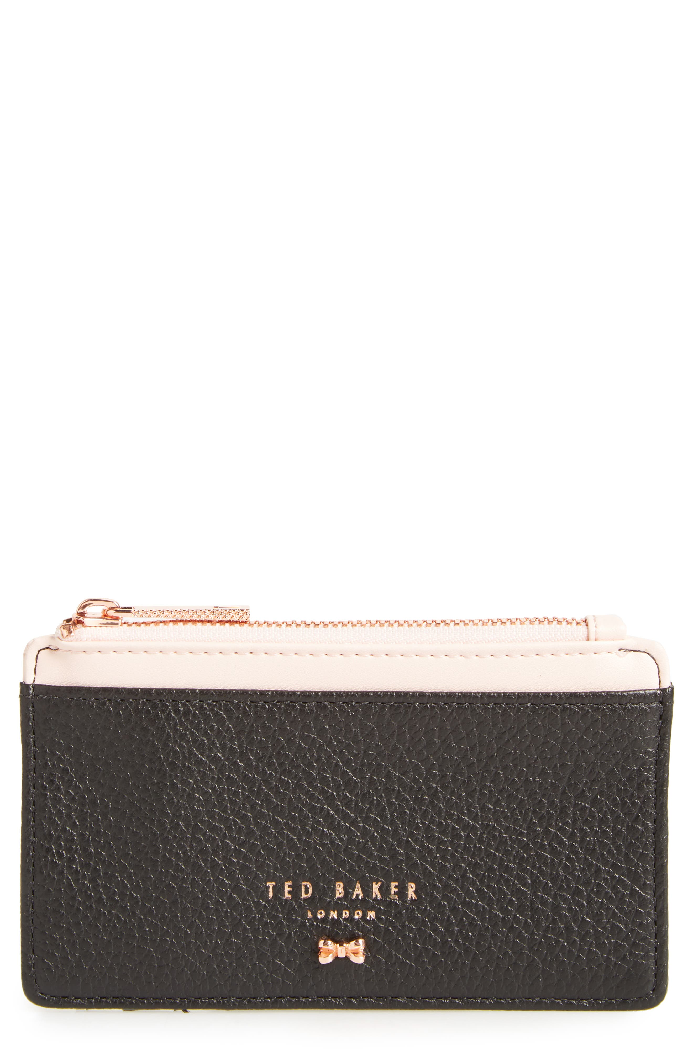 Alica Top Zip Leather Card Case,                         Main,                         color, Black
