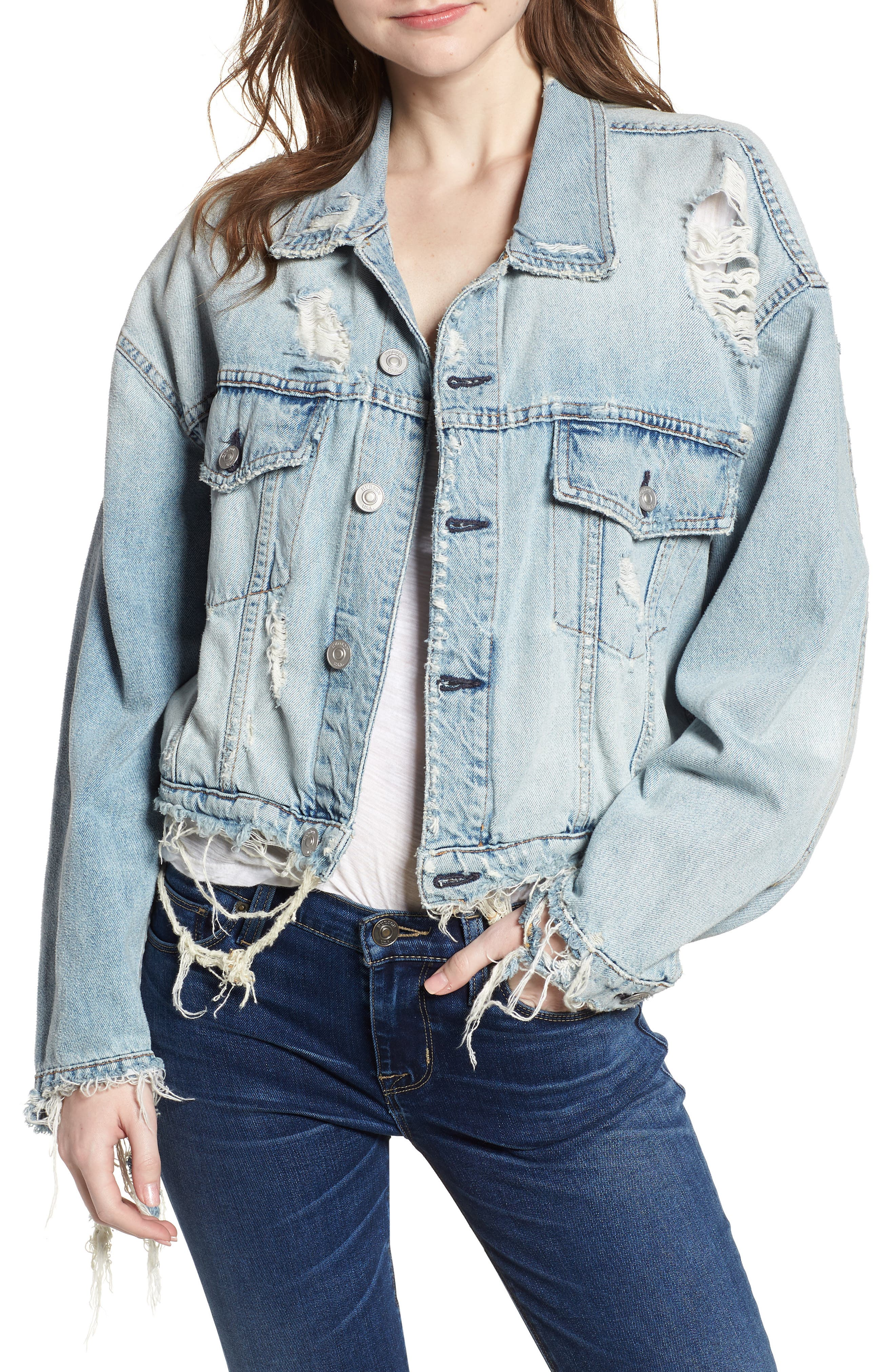 Rei Distressed Crop Denim Jacket,                             Main thumbnail 1, color,                             High And Dry