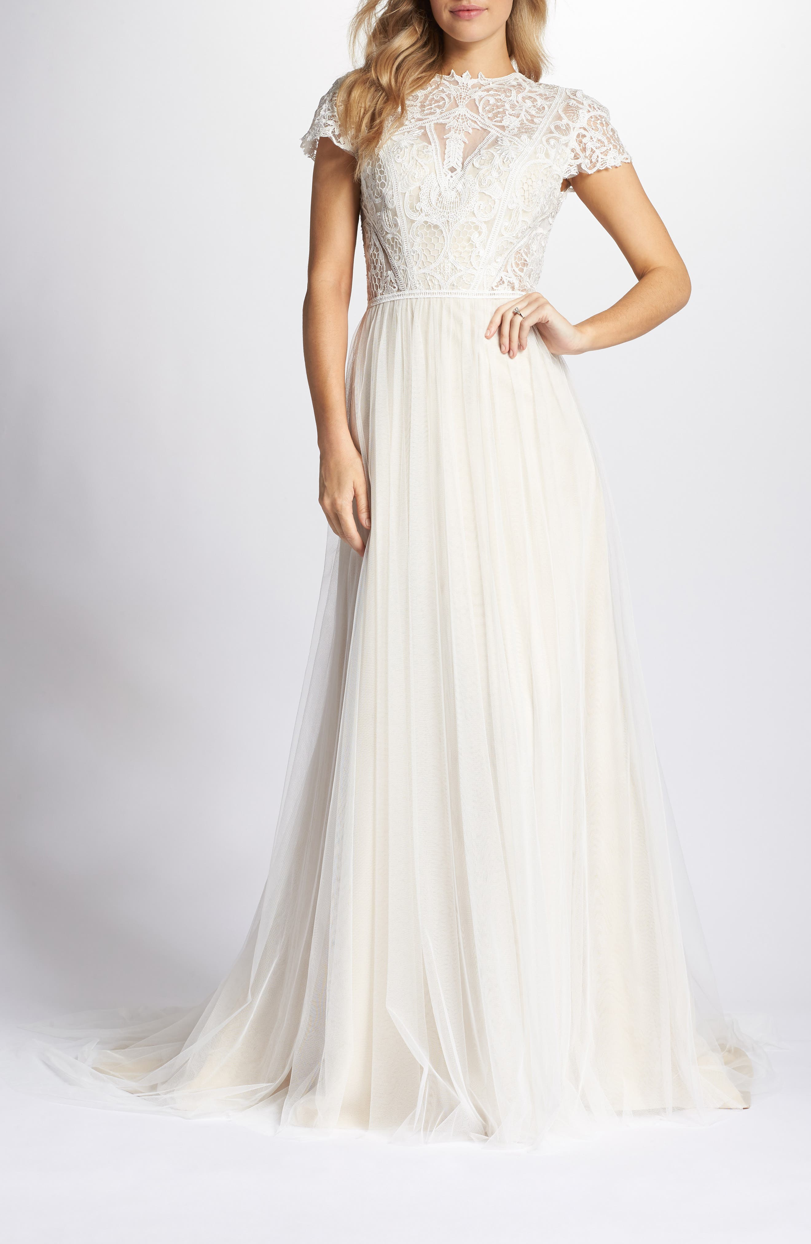 Lace & Tulle A-Line Gown,                             Main thumbnail 1, color,                             Ivory/Cashmere