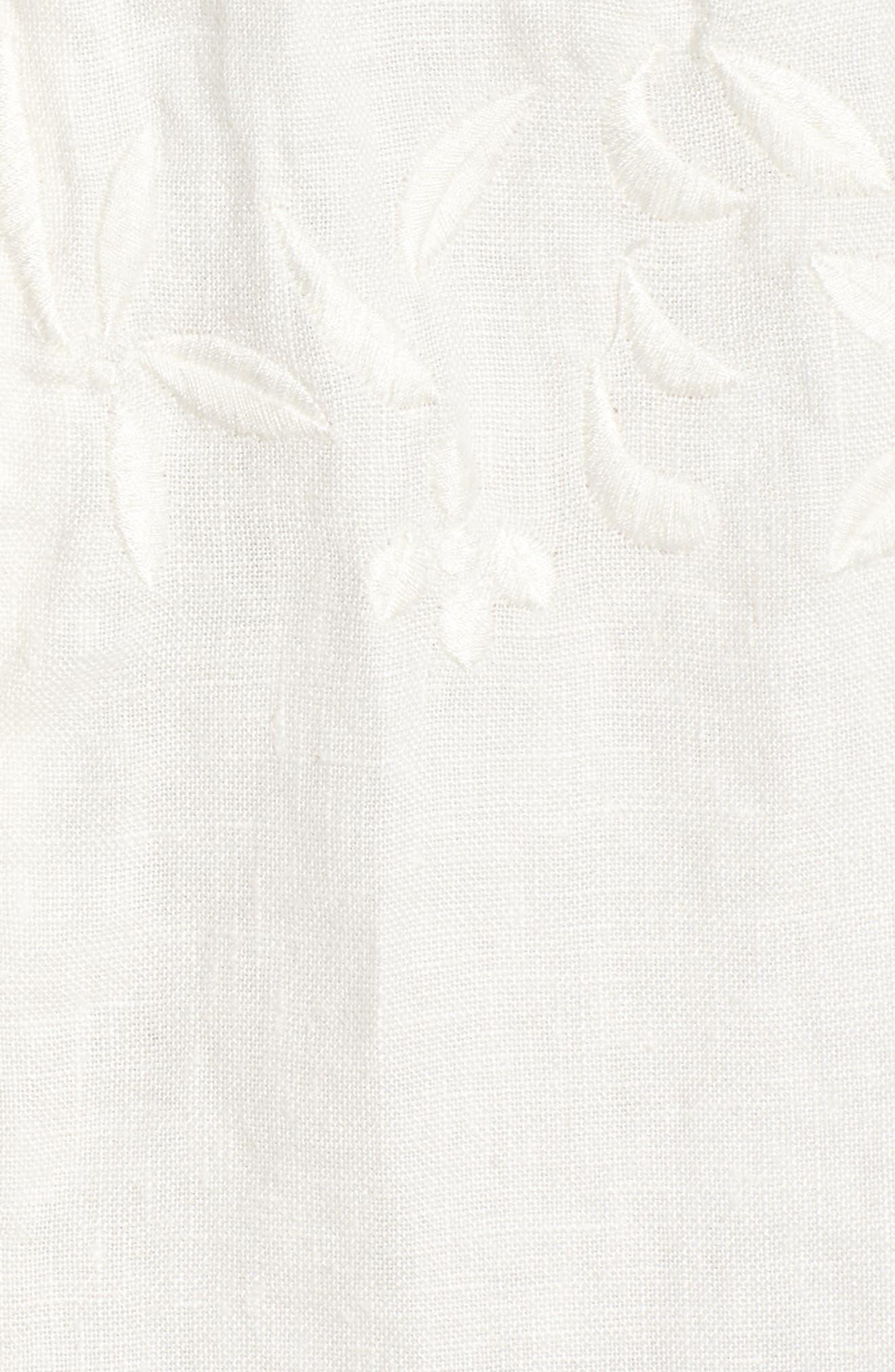 Elisa Embroidered Babydoll Dress,                             Alternate thumbnail 5, color,                             White