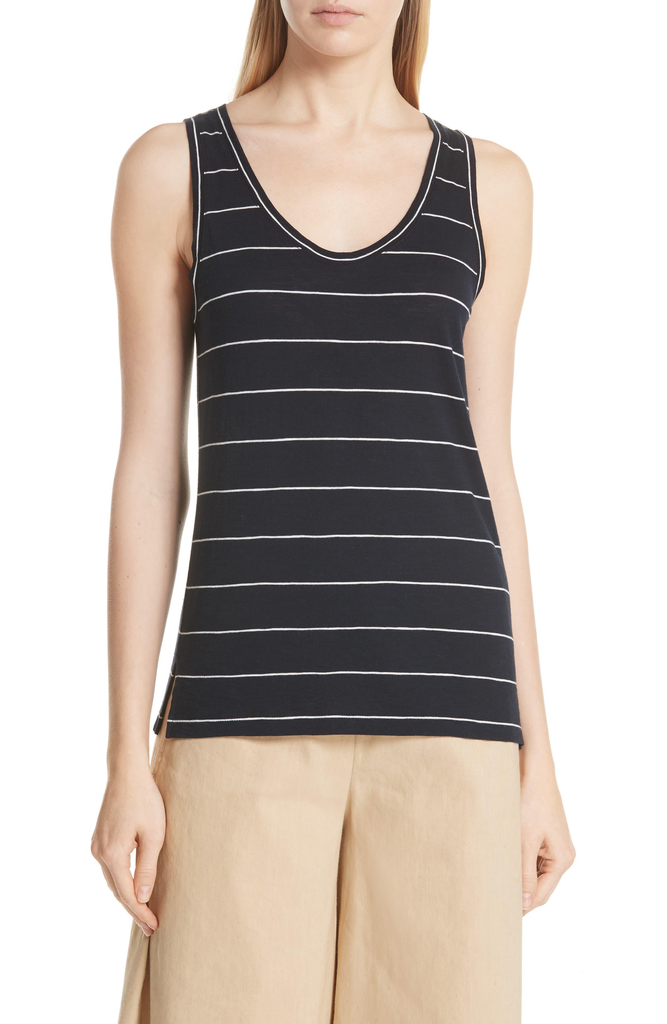 Skinny Stripe Pima Cotton Tank,                             Main thumbnail 1, color,                             Coastal/ Vanilla