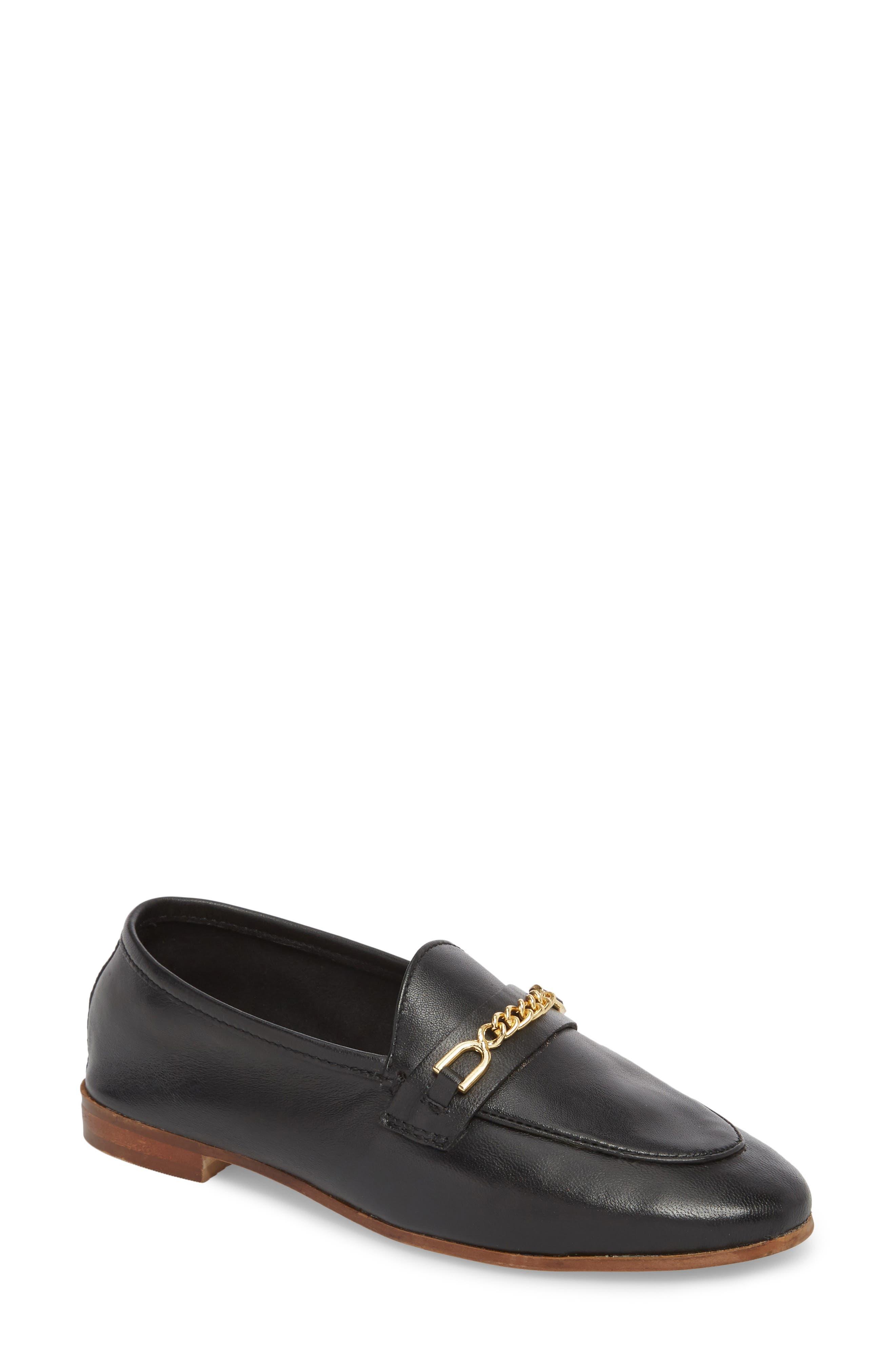 Chain Trim Apron Toe Loafer,                         Main,                         color, Black