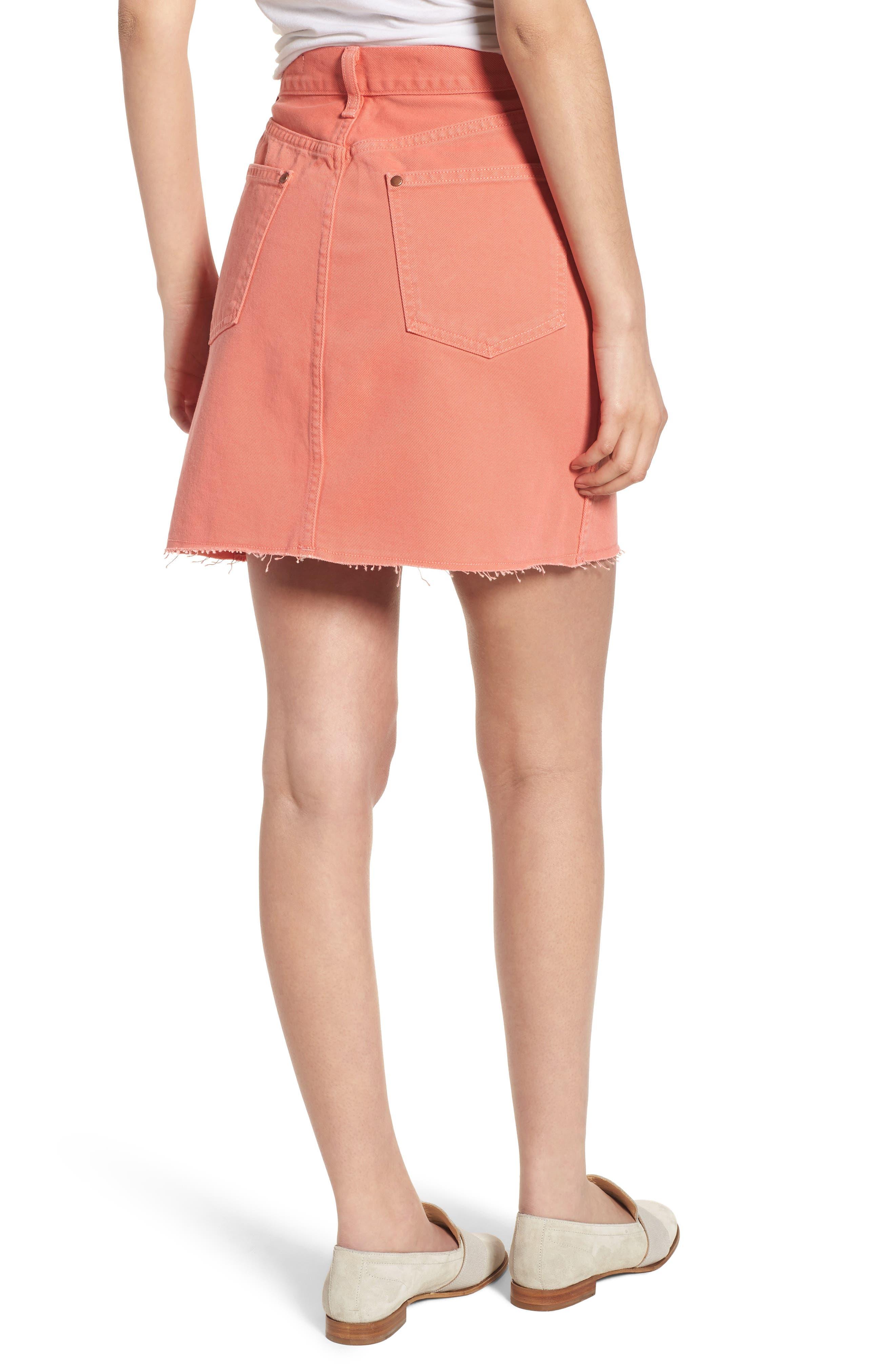 Moss High Waist Denim Miniskirt,                             Alternate thumbnail 2, color,                             Coral Haze