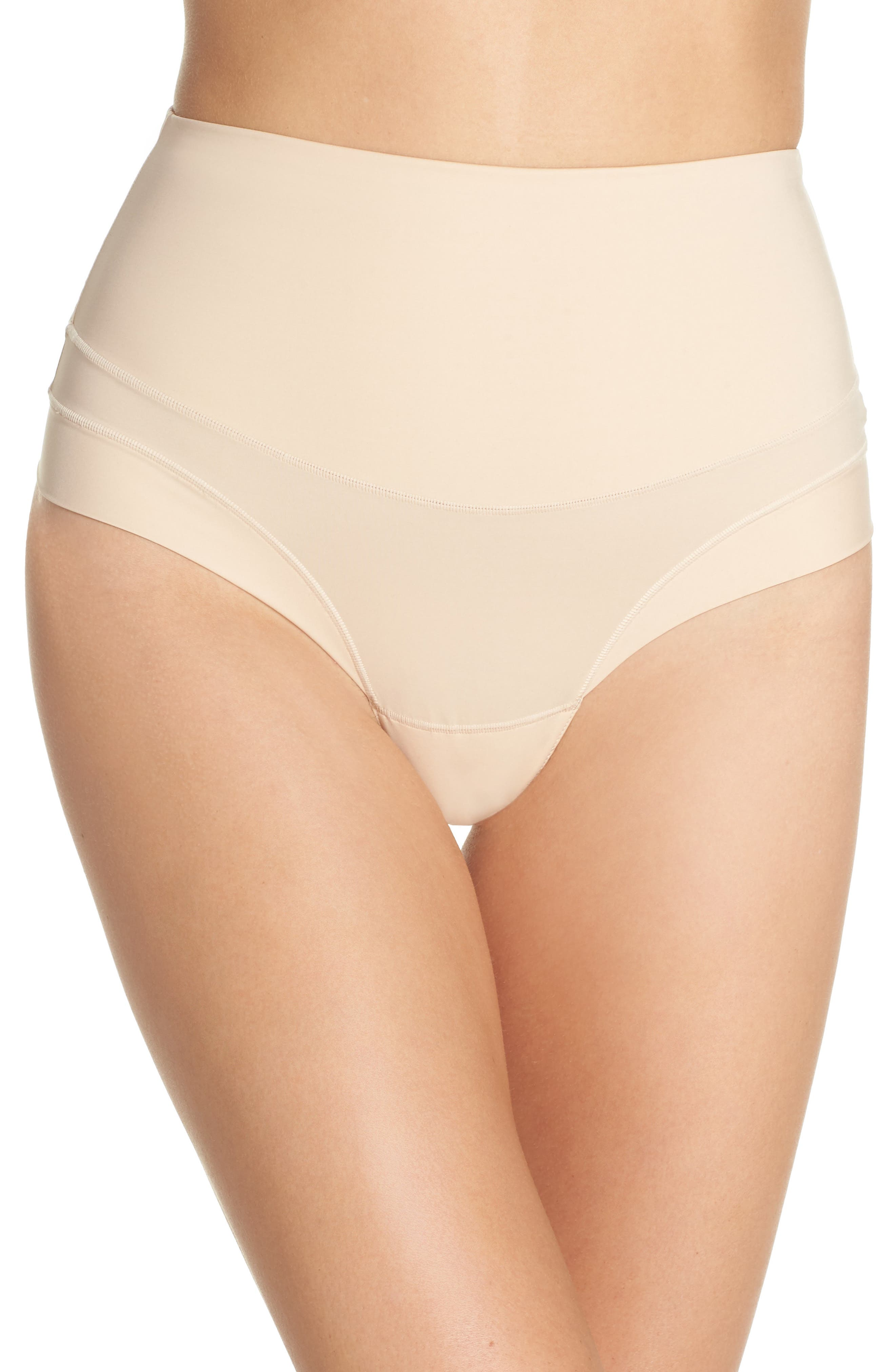 Tummie Tamers Mid Waist Thong,                             Main thumbnail 1, color,                             Frappe