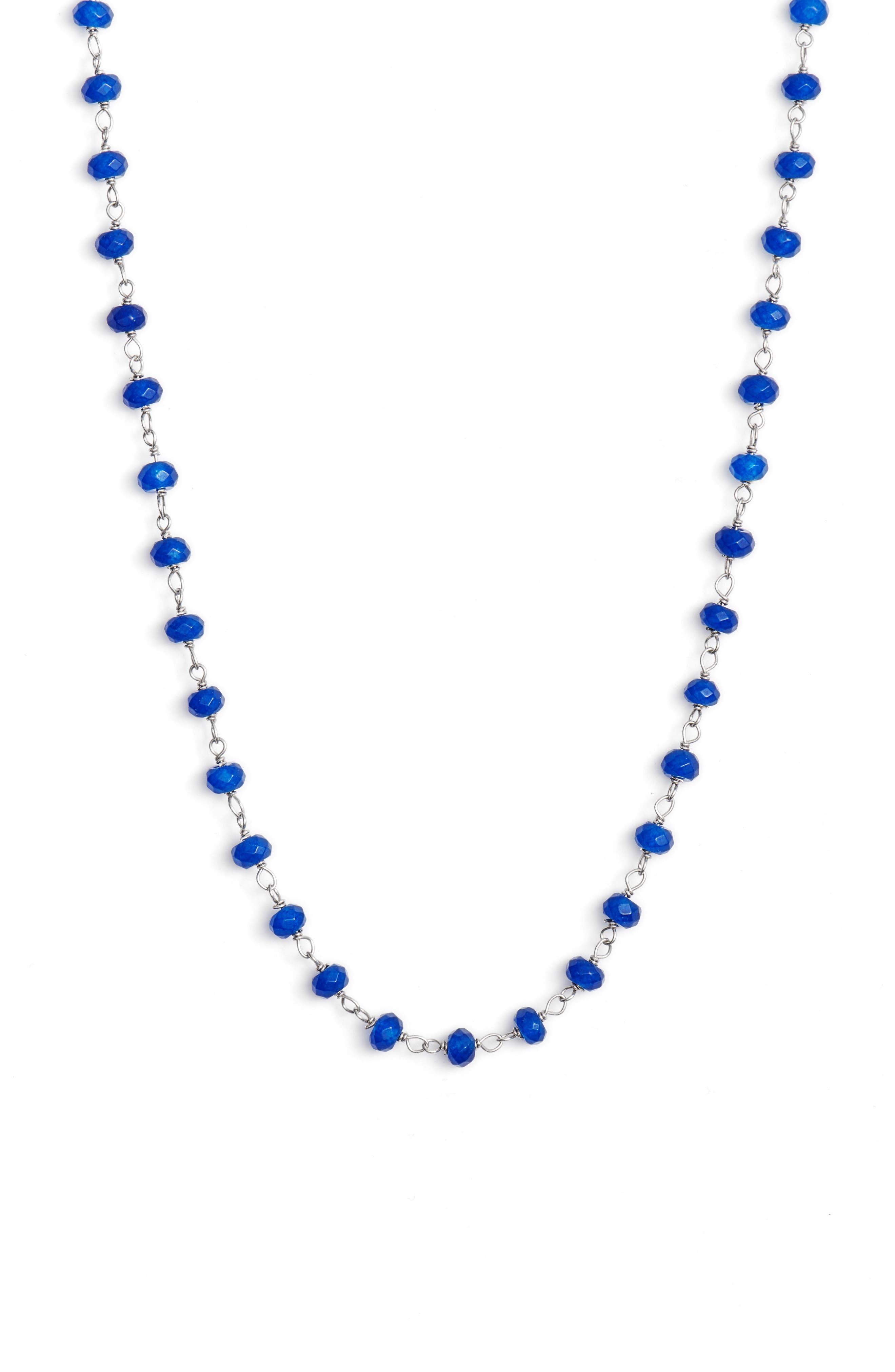 Beaded Wrap Necklace,                             Alternate thumbnail 4, color,                             Silver/ Lapis