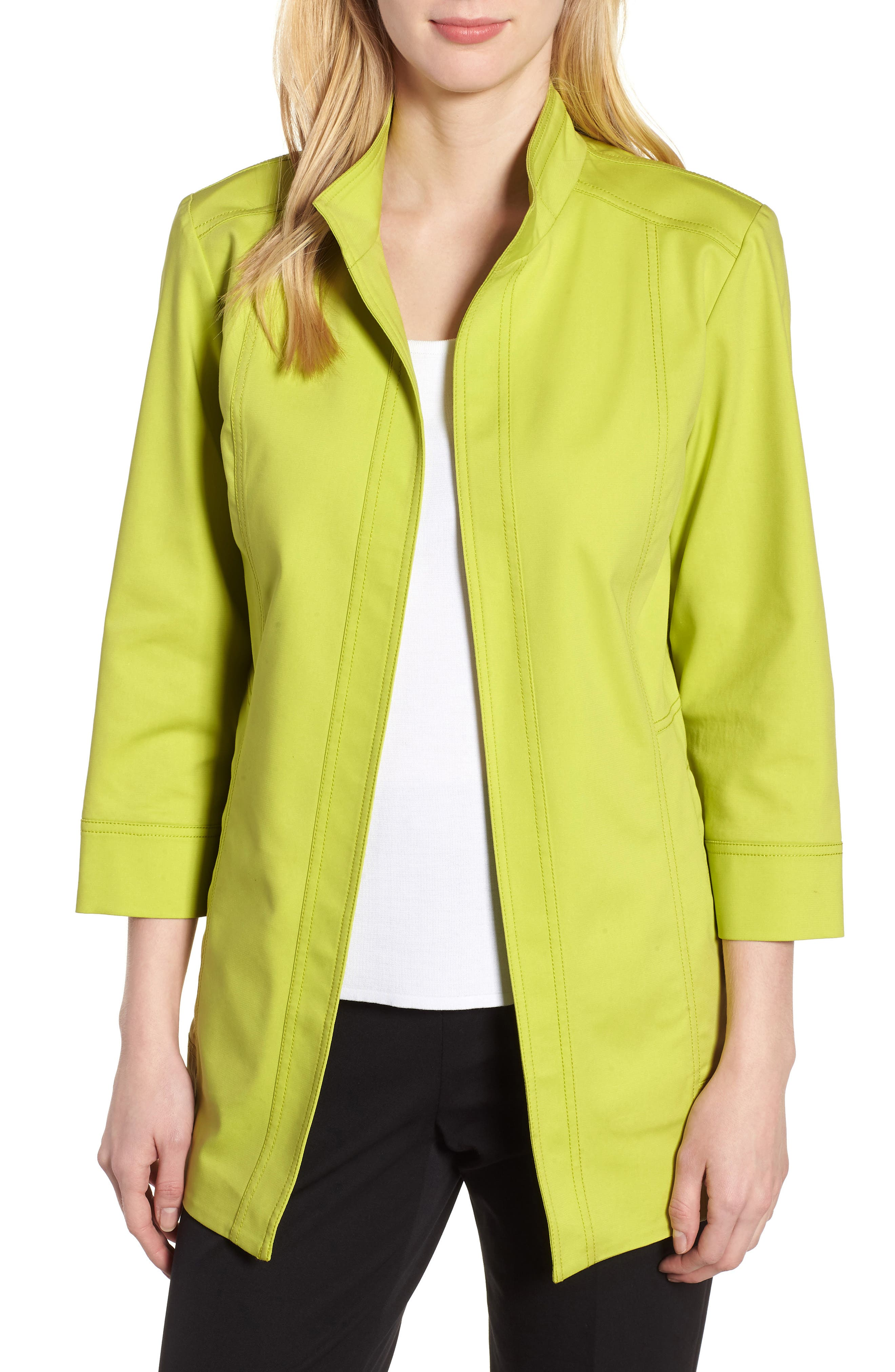 Tie Back Stretch Cotton Jacket,                             Main thumbnail 1, color,                             Pear/ Black/ White