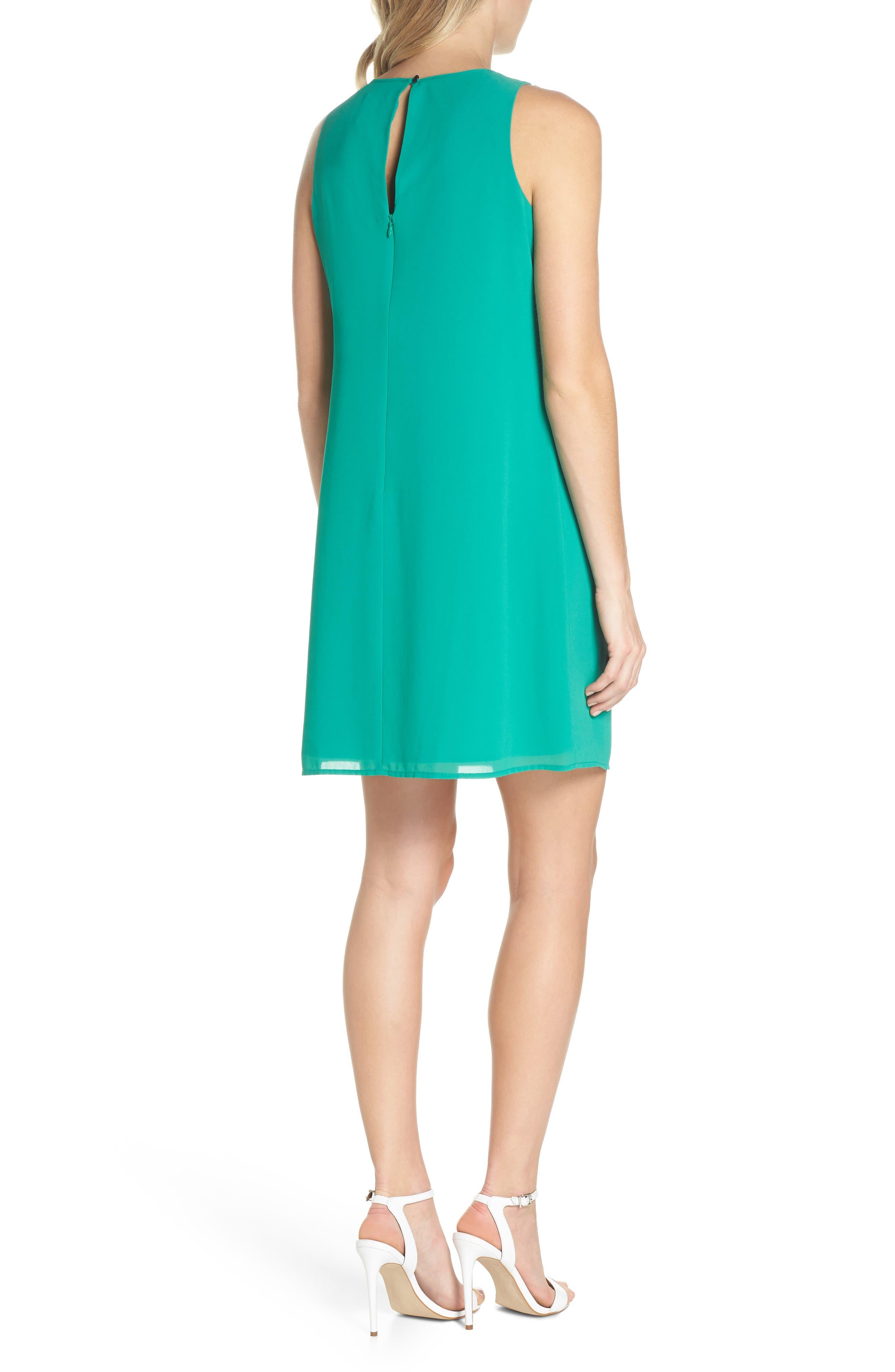 Soufflé Ruffle Chiffon Shift Dress,                             Alternate thumbnail 2, color,                             Green