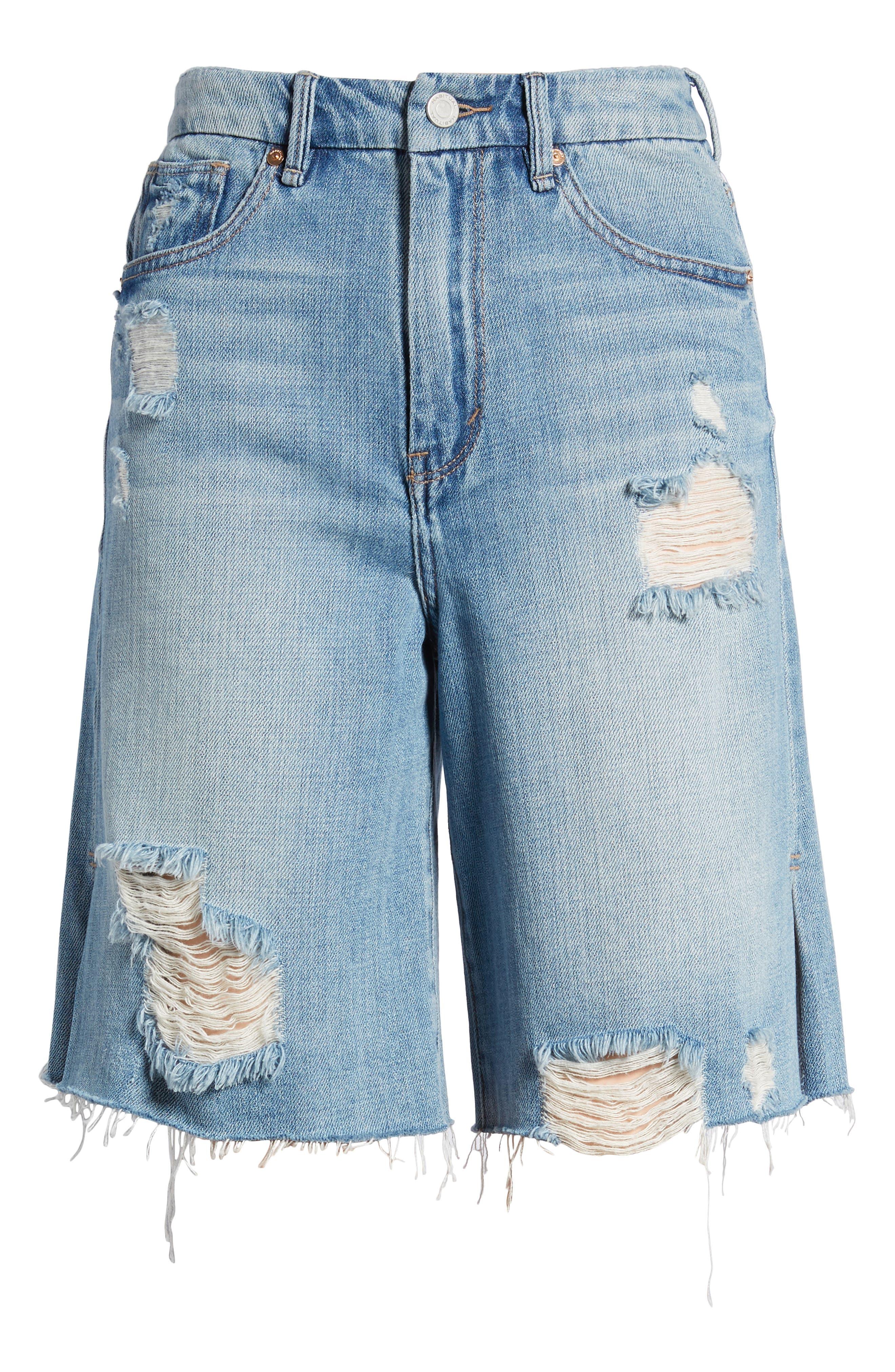 Wylie High Rise Distressed Bermuda Denim Shorts,                             Alternate thumbnail 7, color,                             Varnish