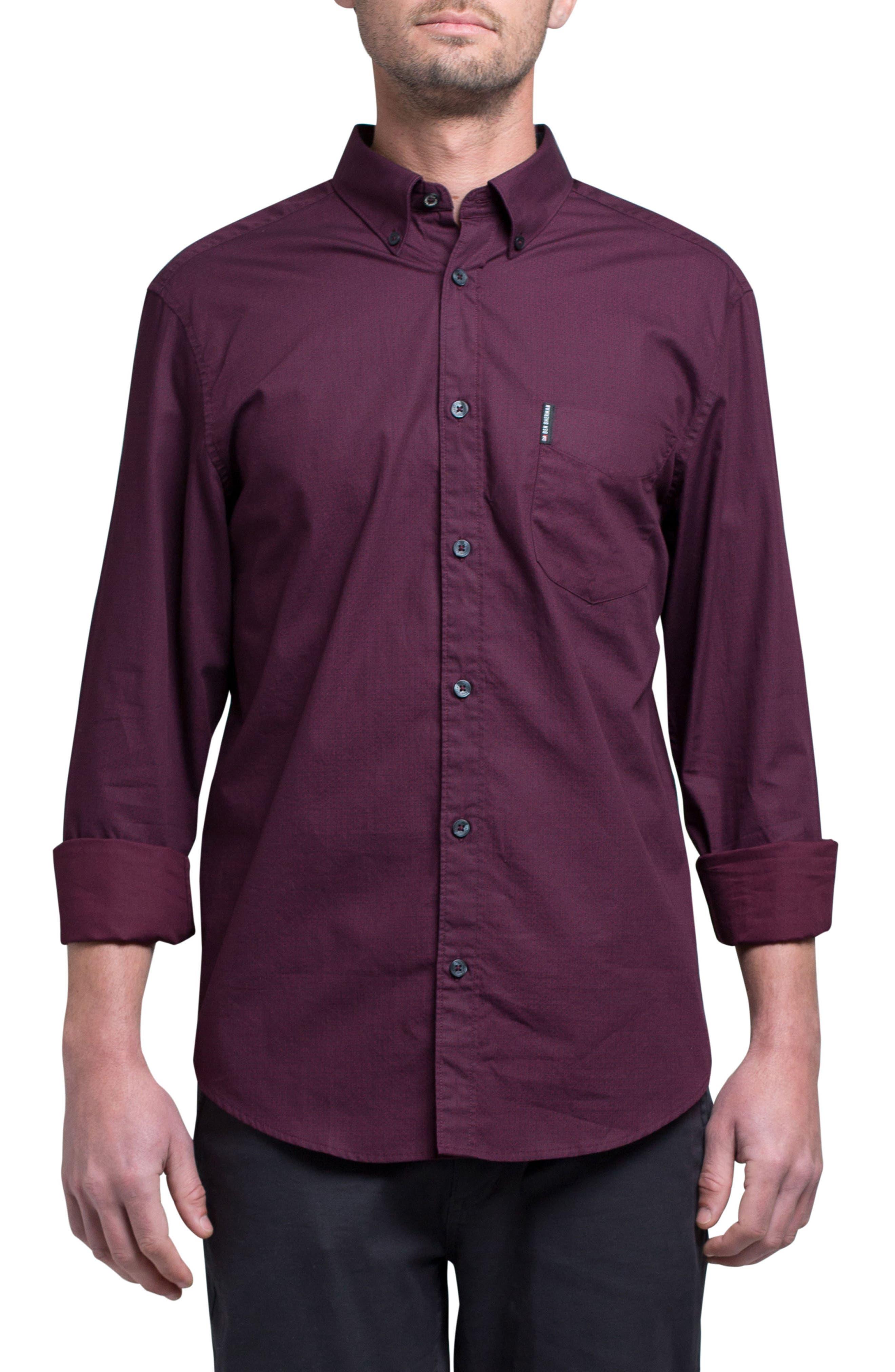 Micro Diamond Print Sport Shirt,                             Main thumbnail 1, color,                             Grape
