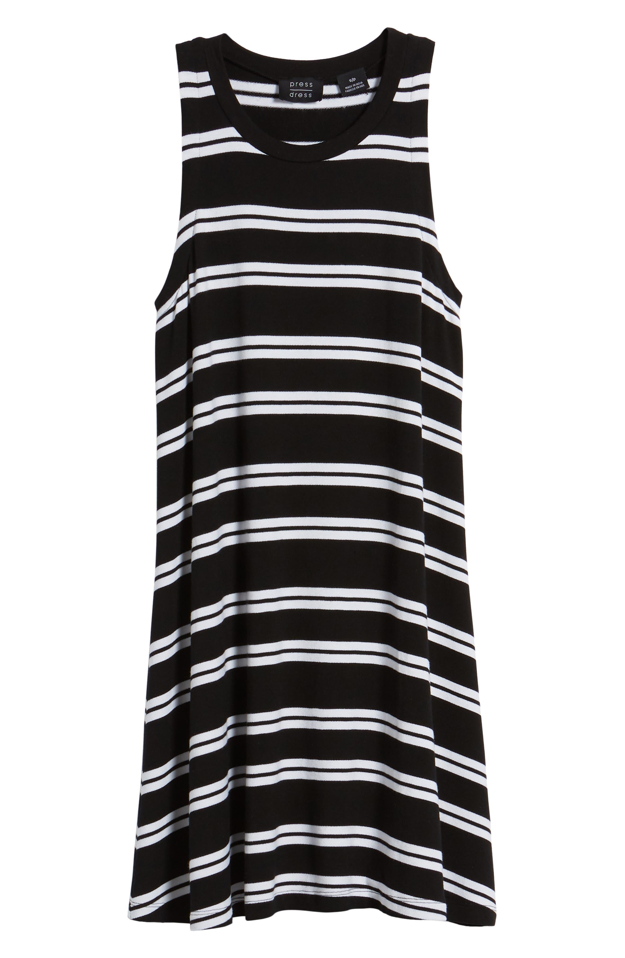 Sleeveless Stretch Knit Stripe Dress,                             Alternate thumbnail 7, color,                             Black