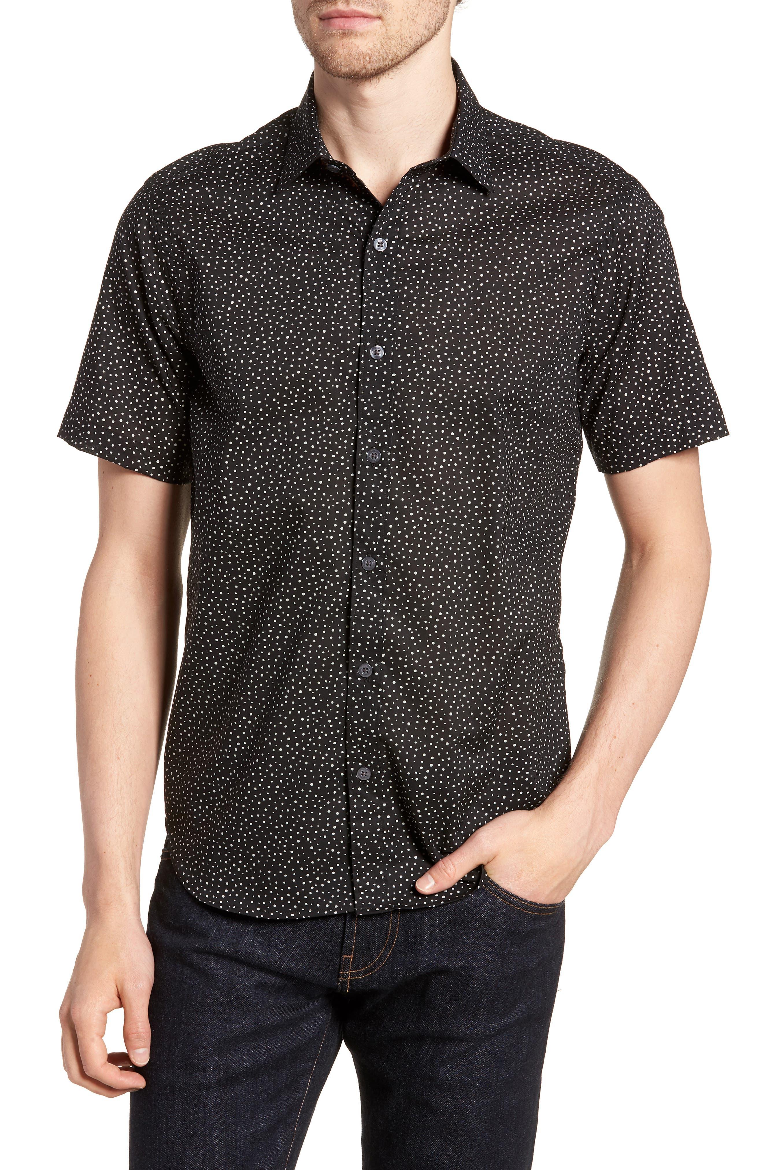 Tyler Novelty Trim Fit Sport Shirt,                             Main thumbnail 1, color,                             Black