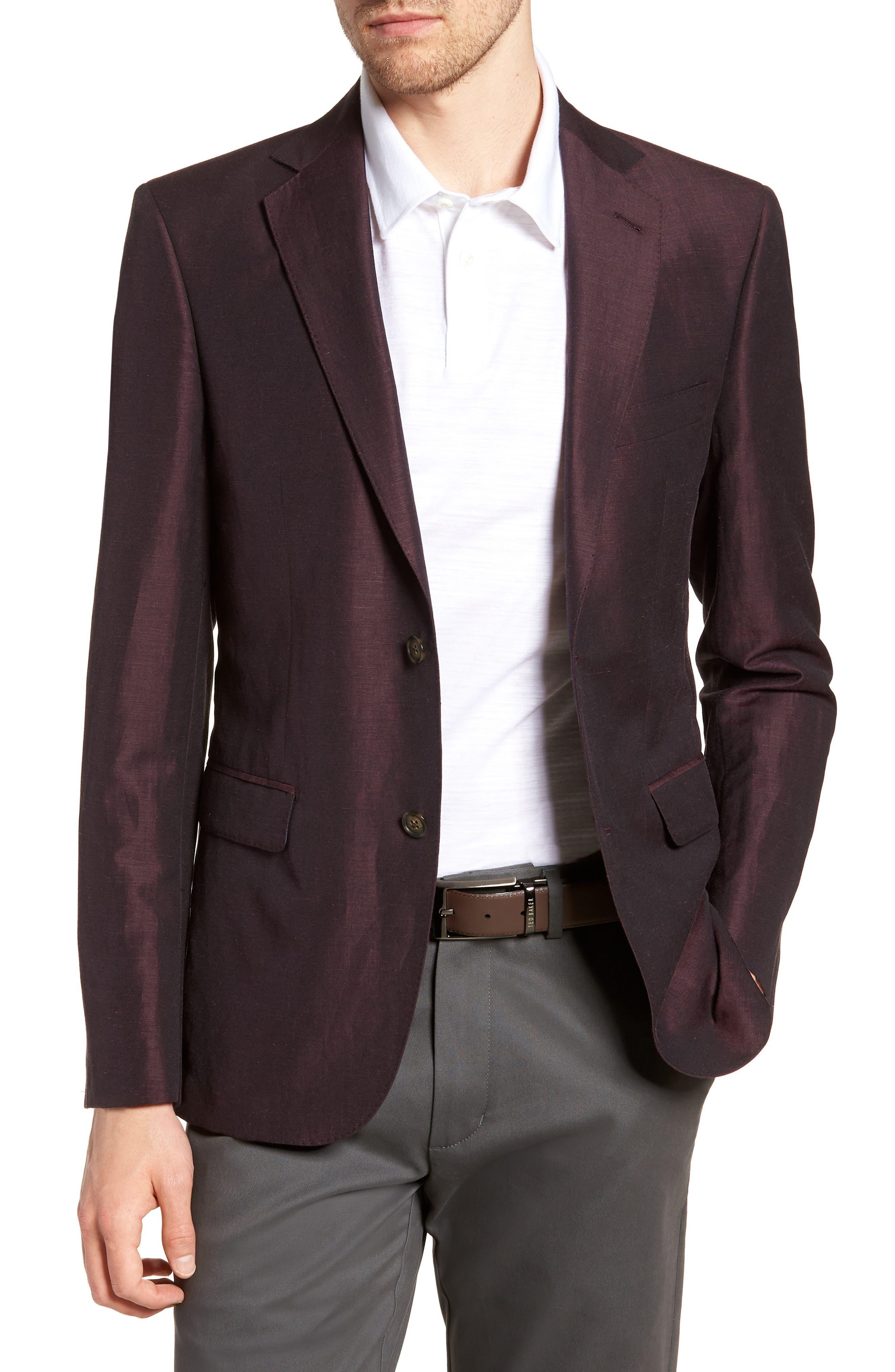 Shelby Trim Fit Wool & Linen Suit Jacket,                         Main,                         color, Plum