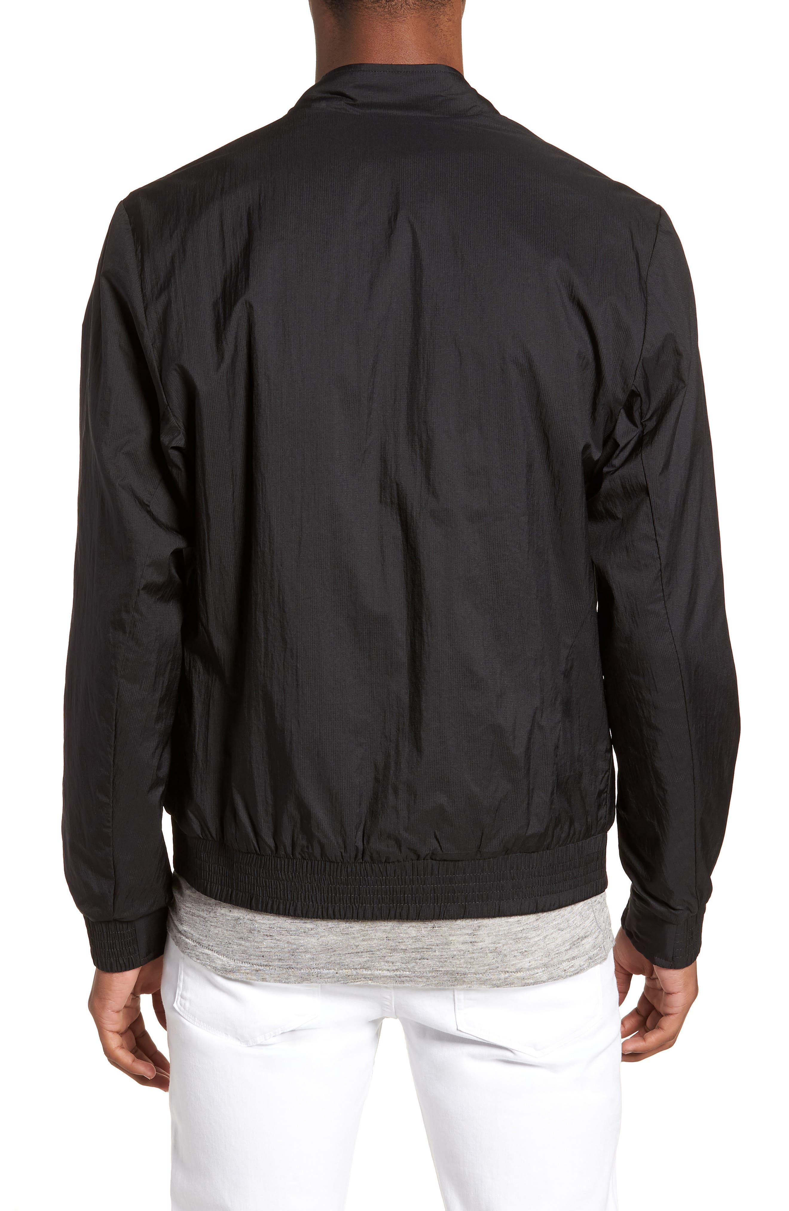 Reversible Bomber Jacket,                             Alternate thumbnail 3, color,                             Black/ Jungle Green
