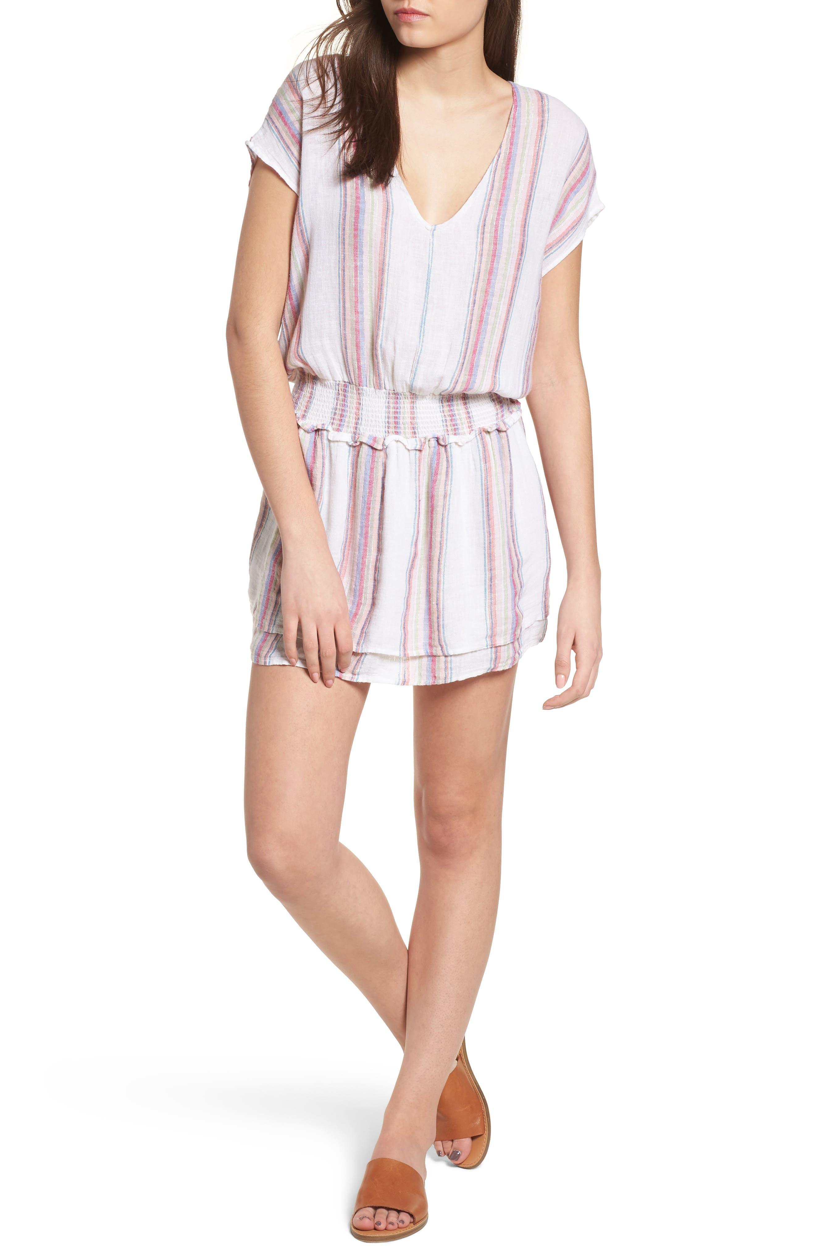 Lucca Linen Blend Dress,                         Main,                         color, Havana Stripe